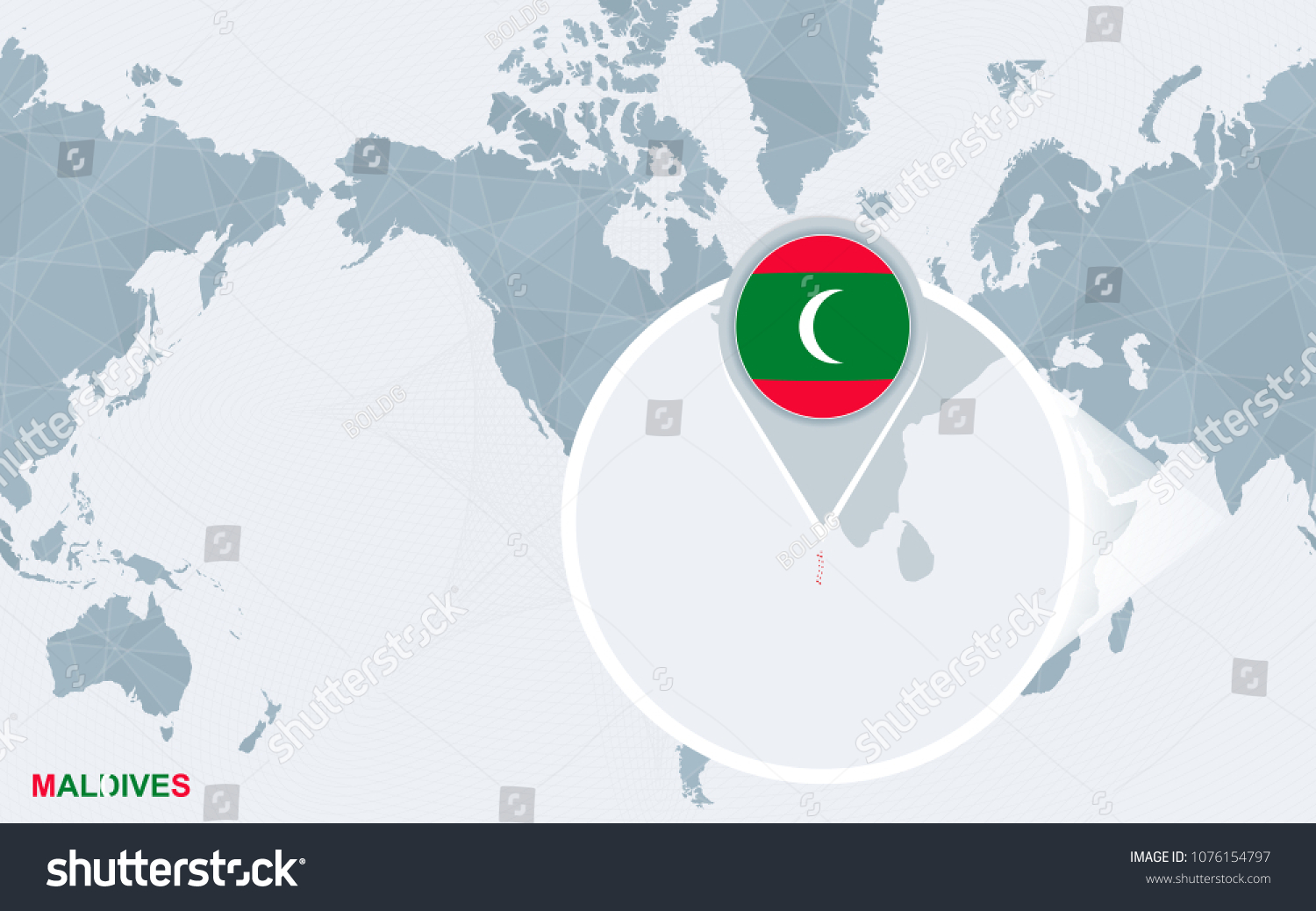 Maldives On A World Map.World Map Centered On America Magnified Stock Vector Royalty Free