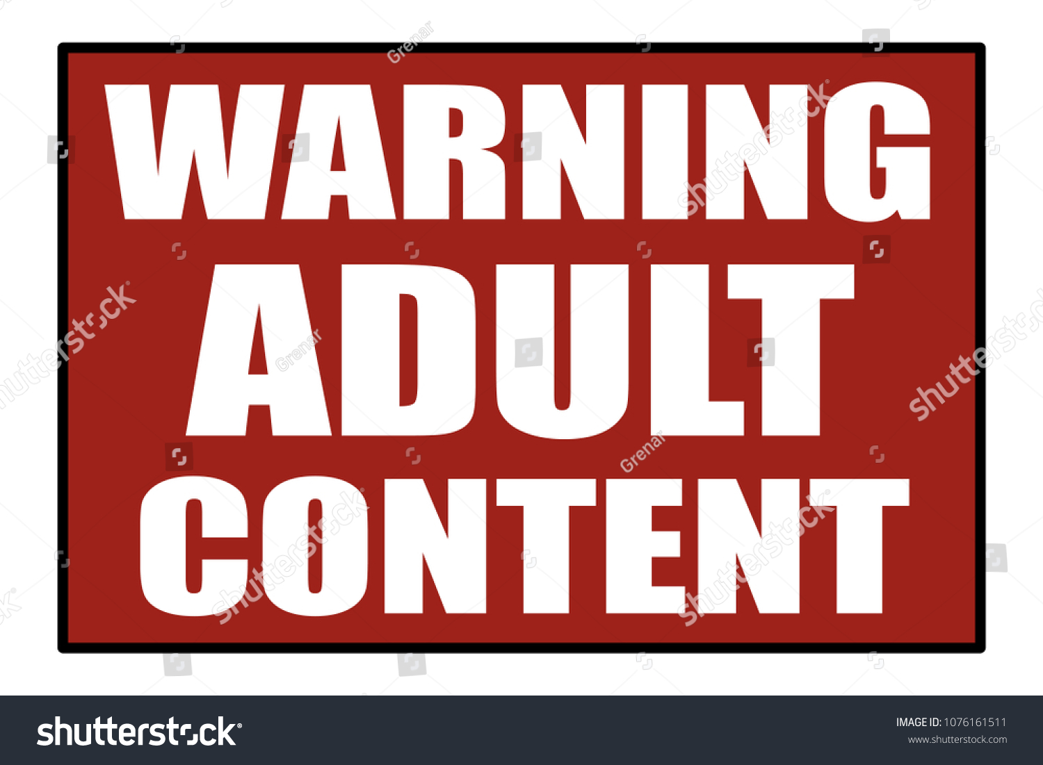 A red sign message label, with the text Warning adult content.