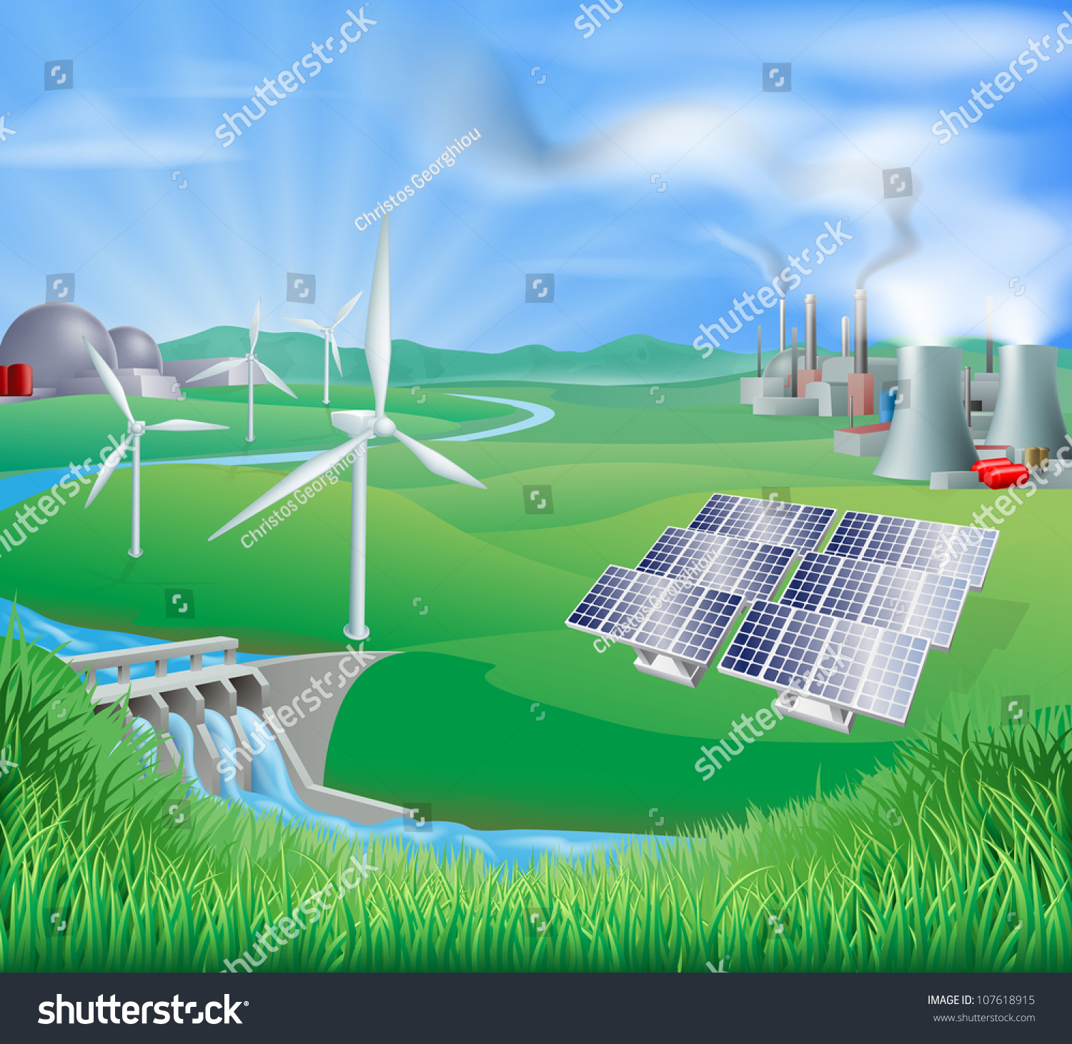 different power generation nuclear fossil fuel stock illustration different power generation nuclear fossil fuel coal renewable energy sustainable energy sources such