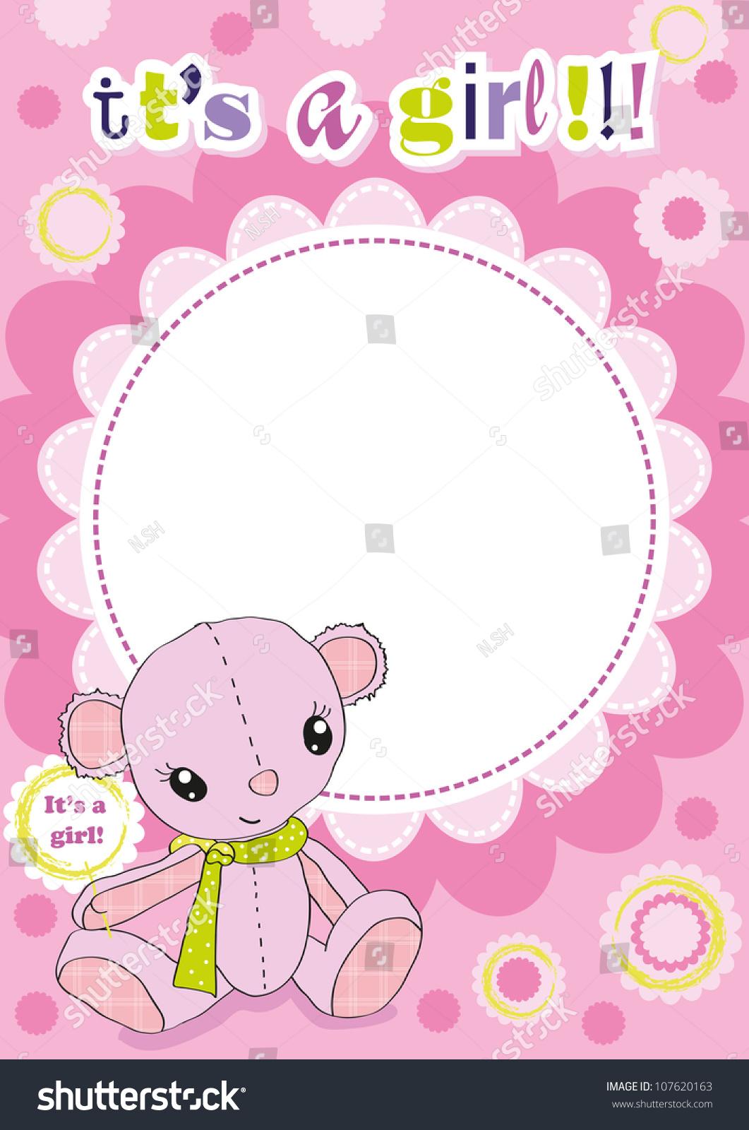 Cute Pink Baby Frame Newborn Girl Vector de stock107620163: Shutterstock