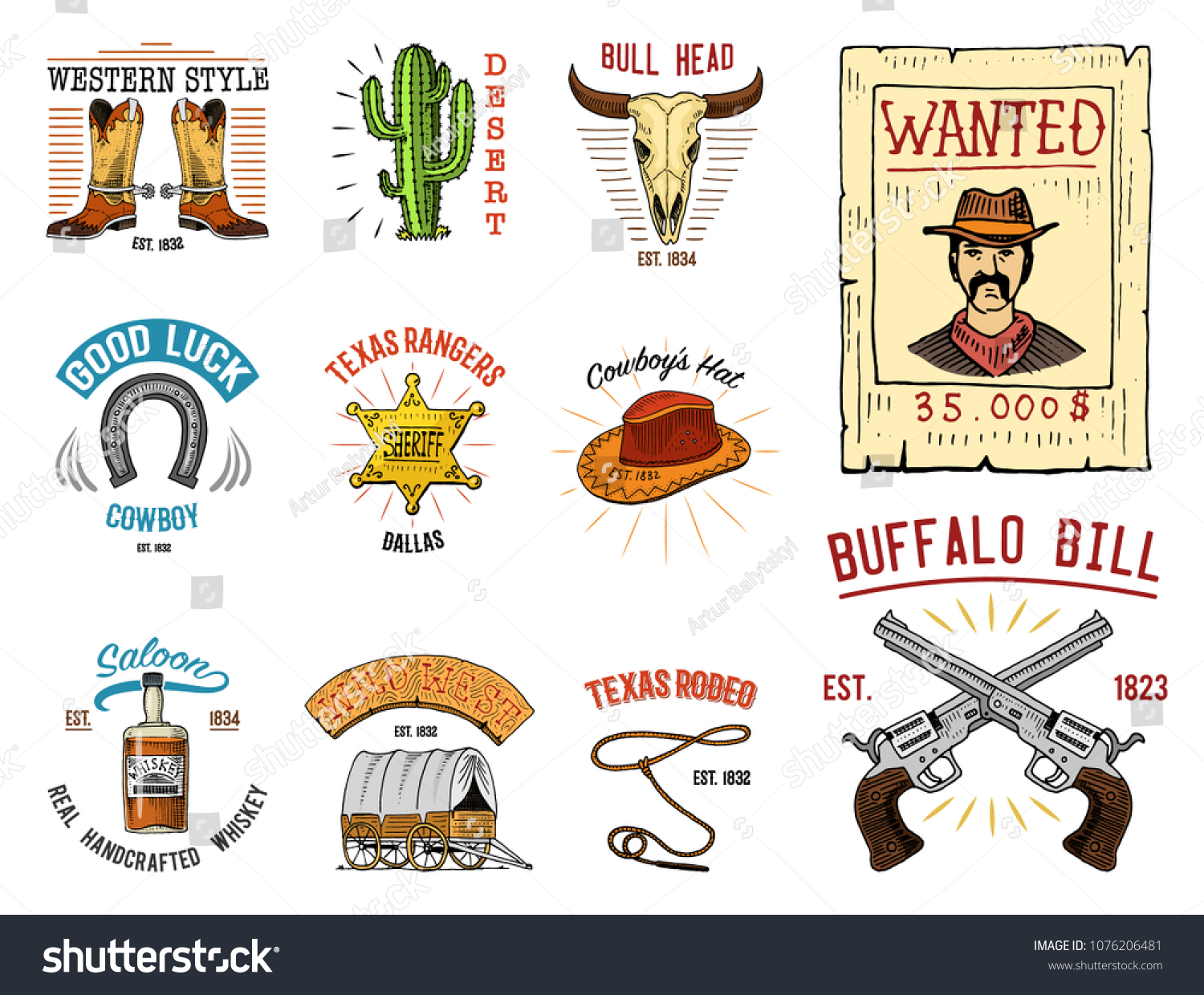Cowboy Set Badges Wild West Rodeo Stock Vector (Royalty Free ... ecd377d7c