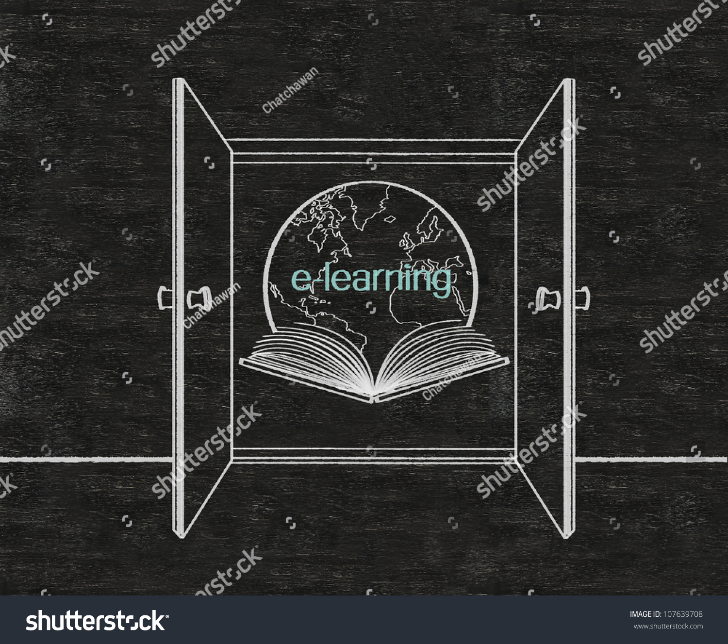 double doors open to e learning door frame written on blackboard background high resolution drawing l4 drawing