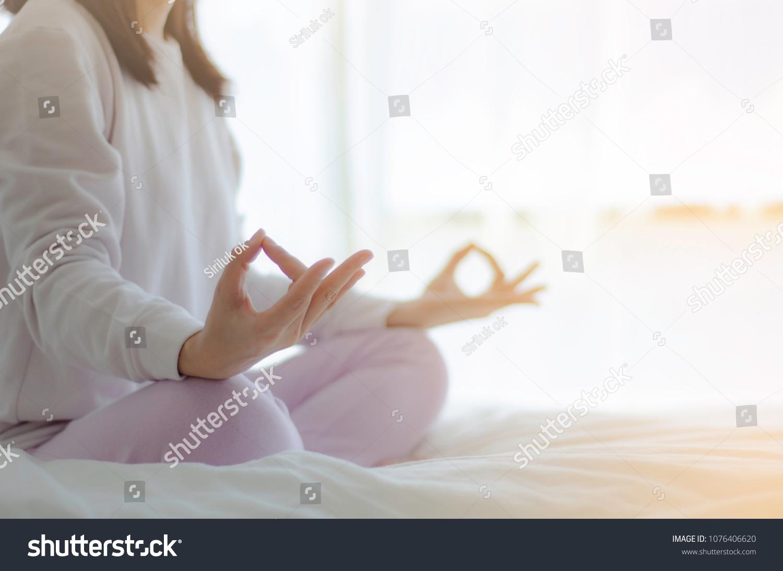 Asian Girls Sitting On Yoga Poses Stock Photo Edit Now 1076406620