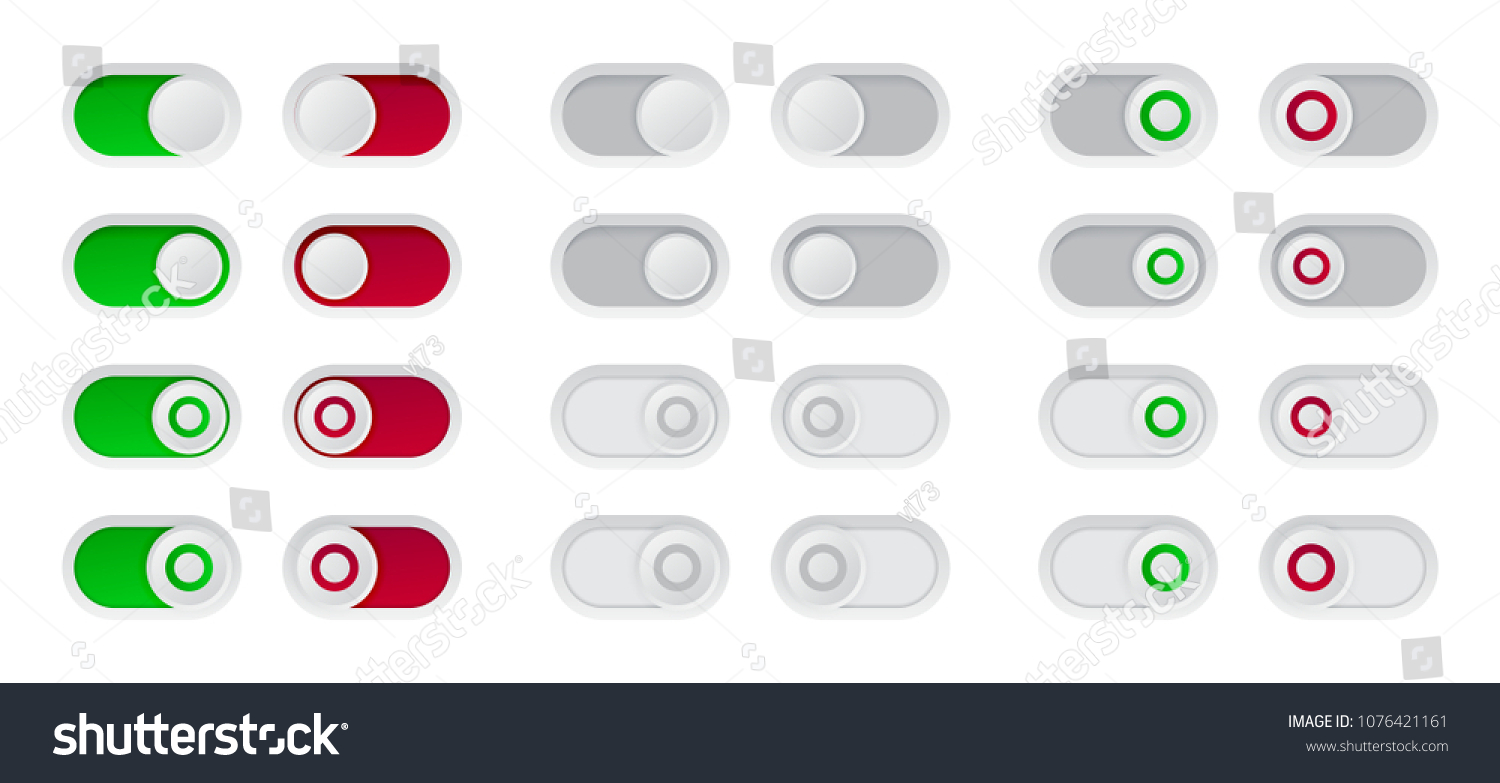 On Off Switch Button Set Red Stock Vector Royalty Free 1076421161