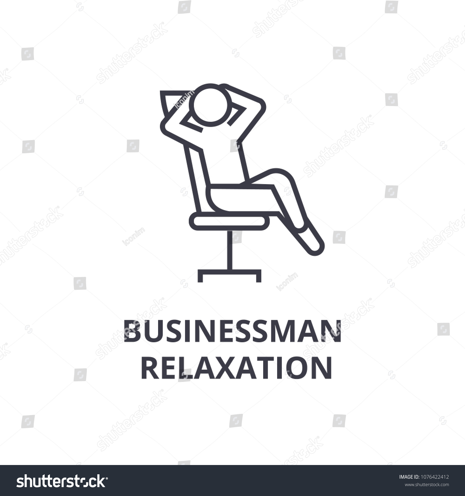businessman relaxation thin line icon, sign, symbol, illustation, linear concept, vector