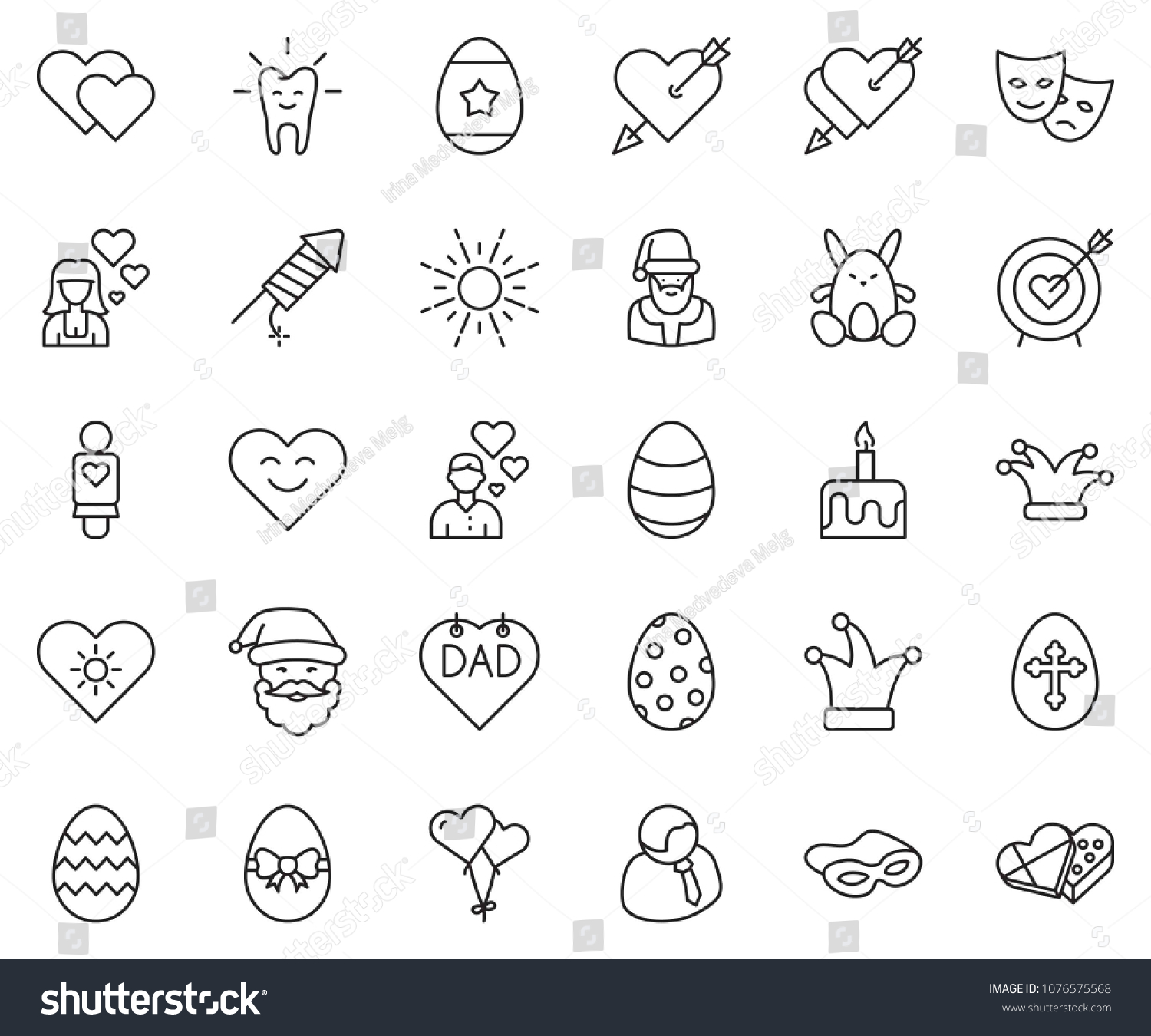 Thin Line Icon Set Candle Cake Stock Vector Royalty Free