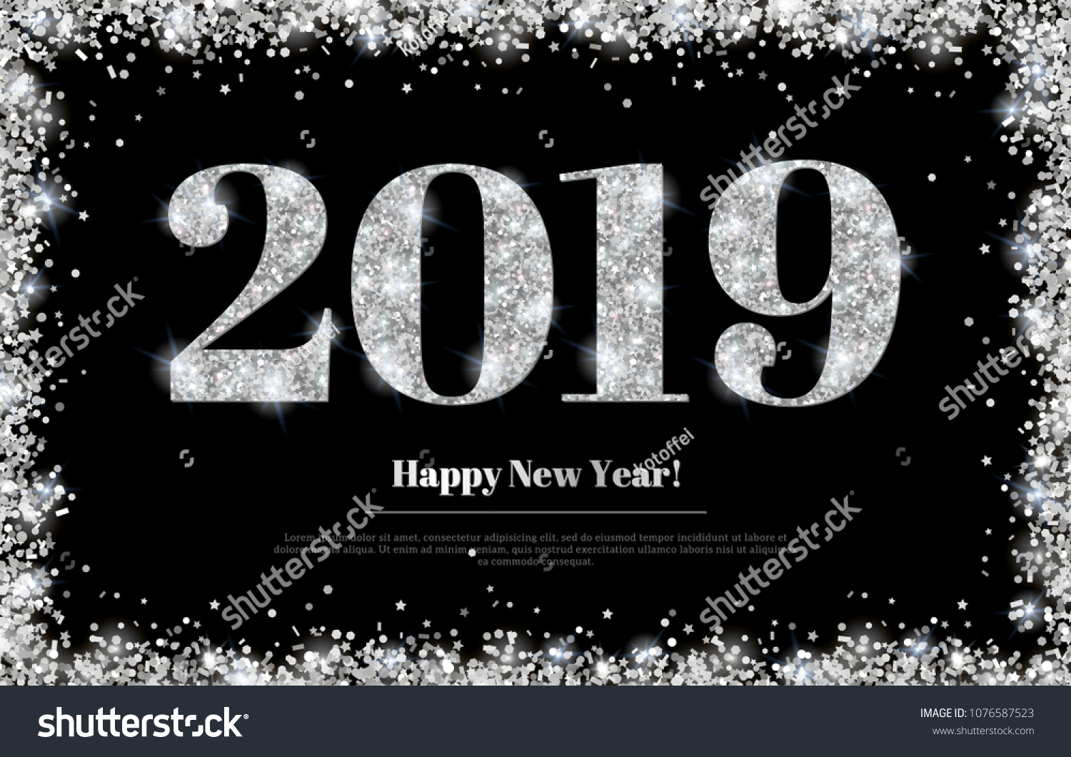 Happy New Year 2019 Greeting Card with Silver Numbers and Confetti Frame on Black Background. Vector Illustration. Merry Christmas Flyer or Poster Design #1076587523
