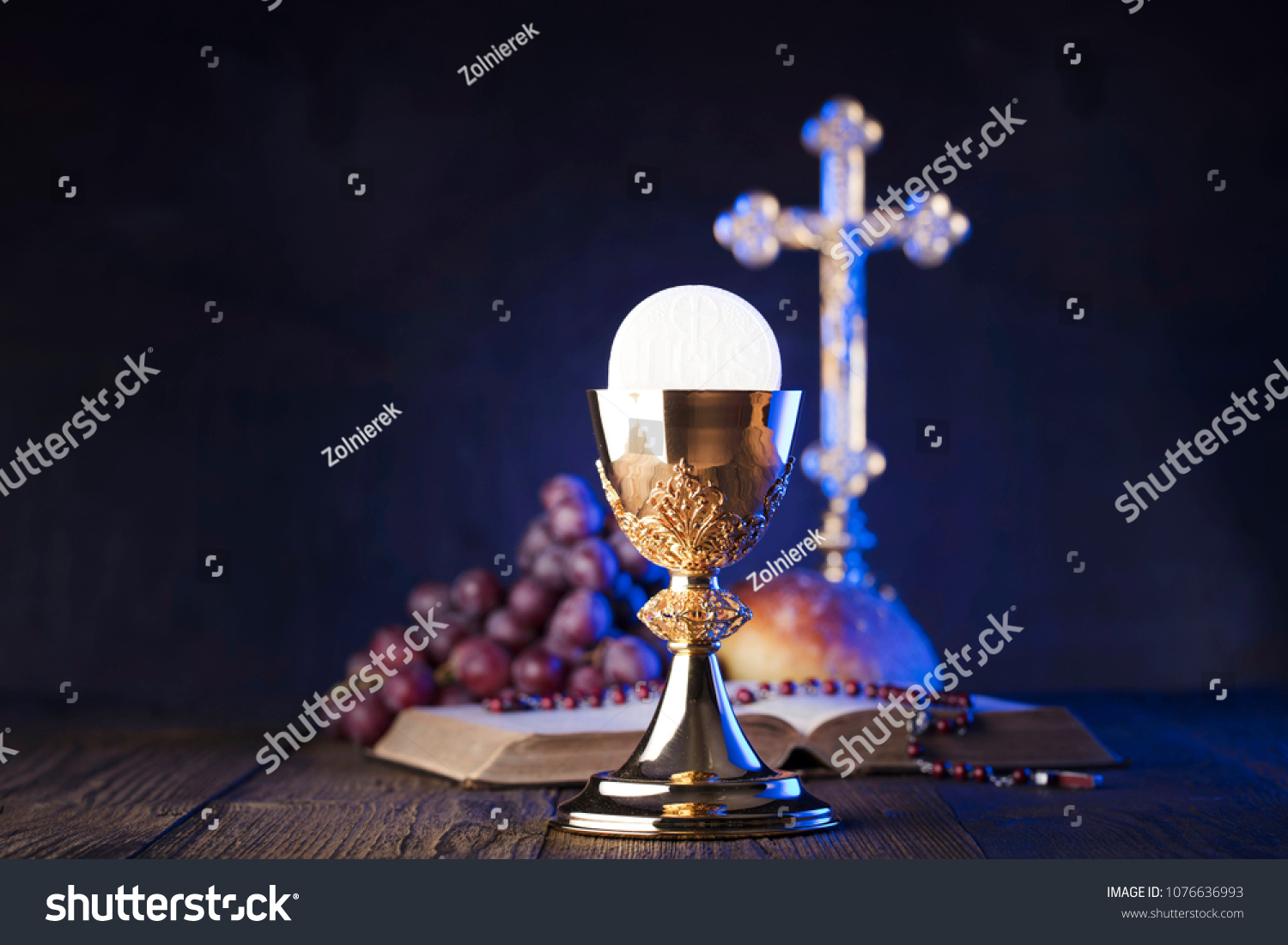 Christianity Symbols Composition First Holy Communion Stock Photo