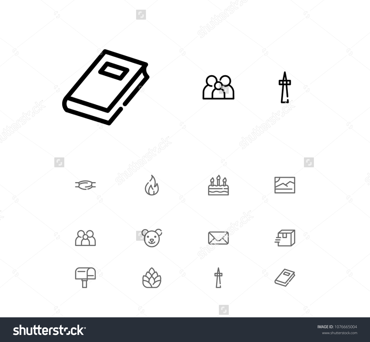 Book Icon Mail Flame Television Symbols Stock Illustration Royalty
