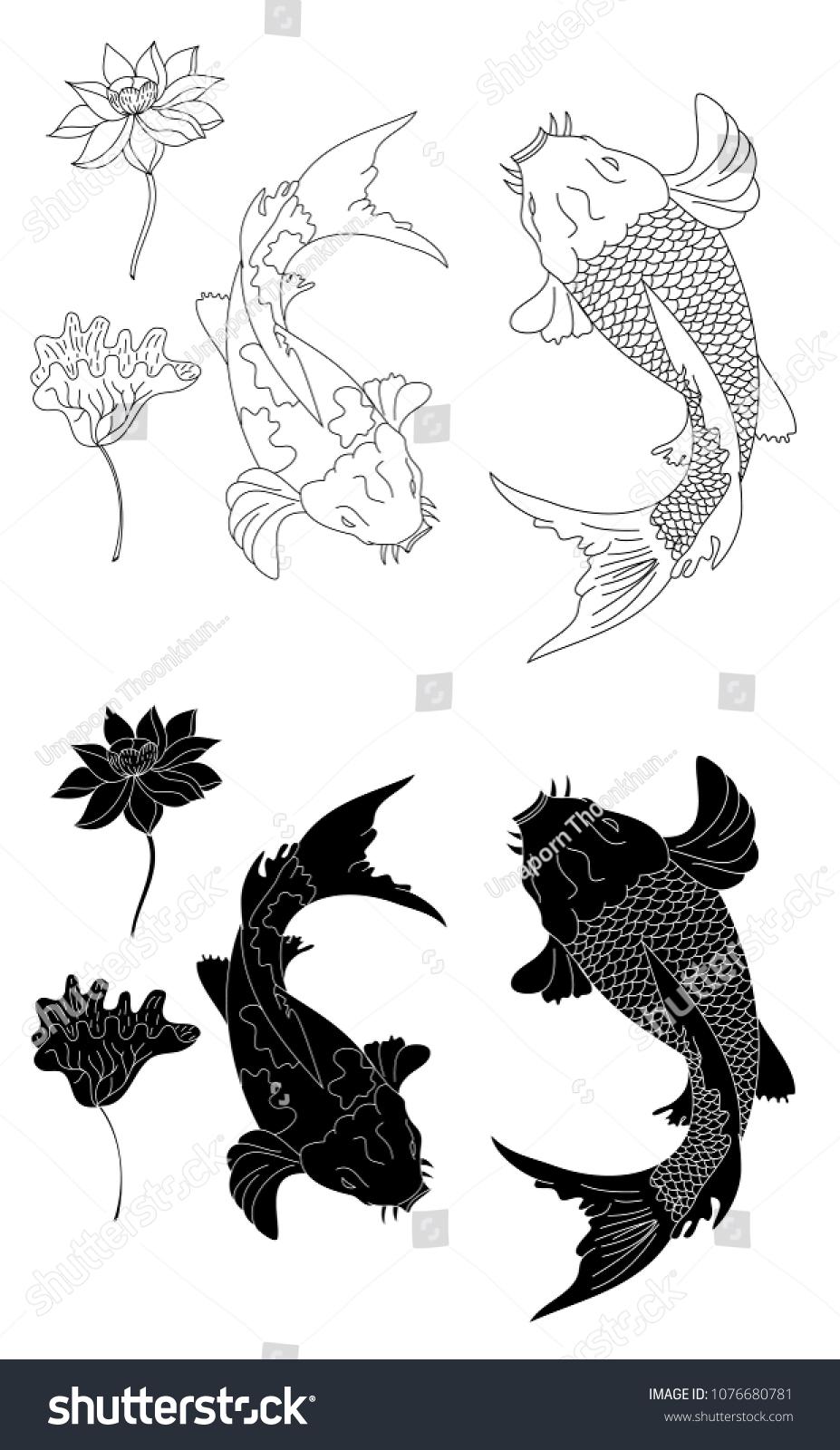 Gold koi fish lotus flower tattoo stock vector 1076680781 shutterstock gold koi fish and lotus flower for tattoo designinese koi carp isolate vector izmirmasajfo