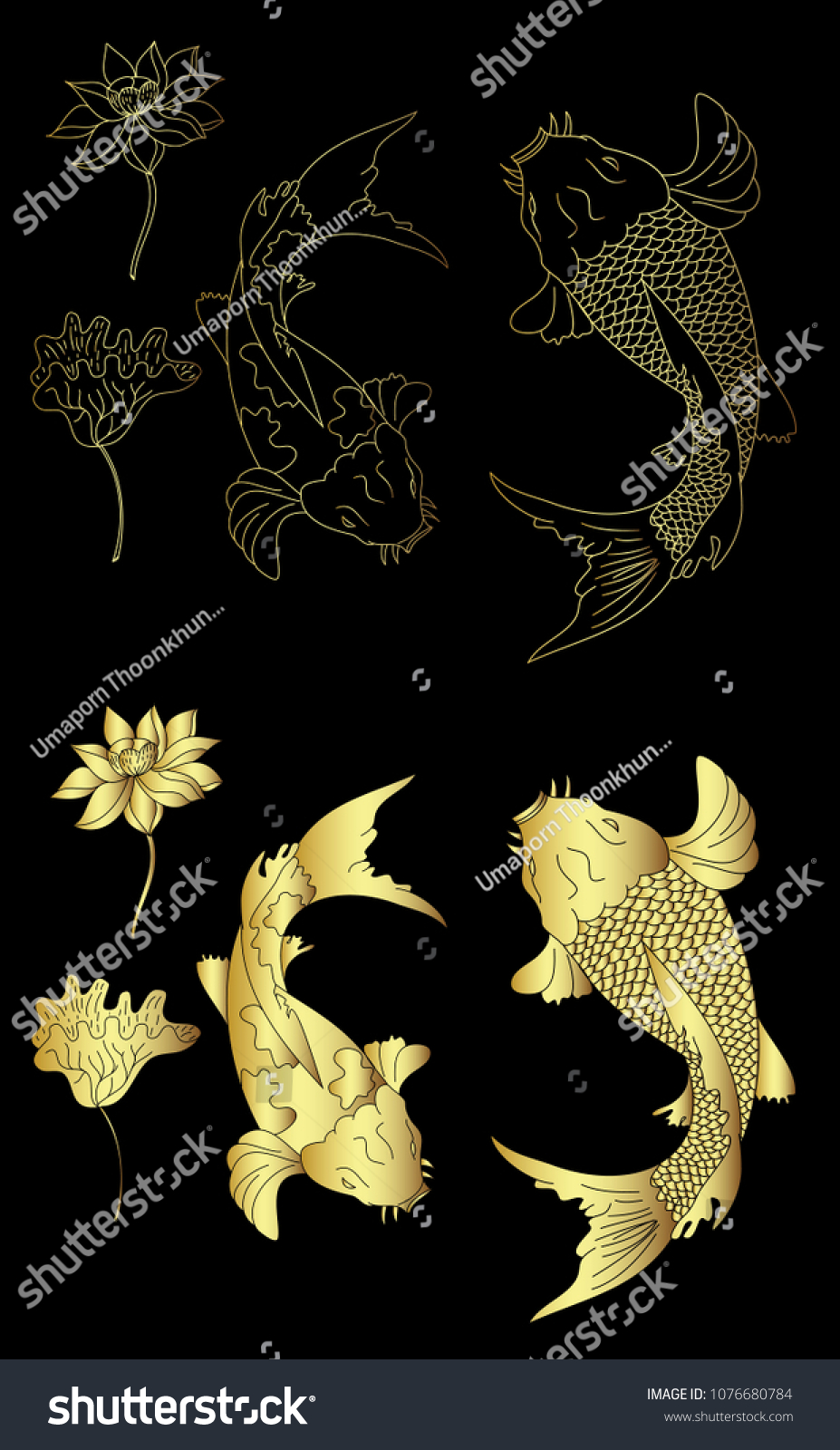 Gold Koi Fish Lotus Flower Tattoo Stock Vector Royalty Free