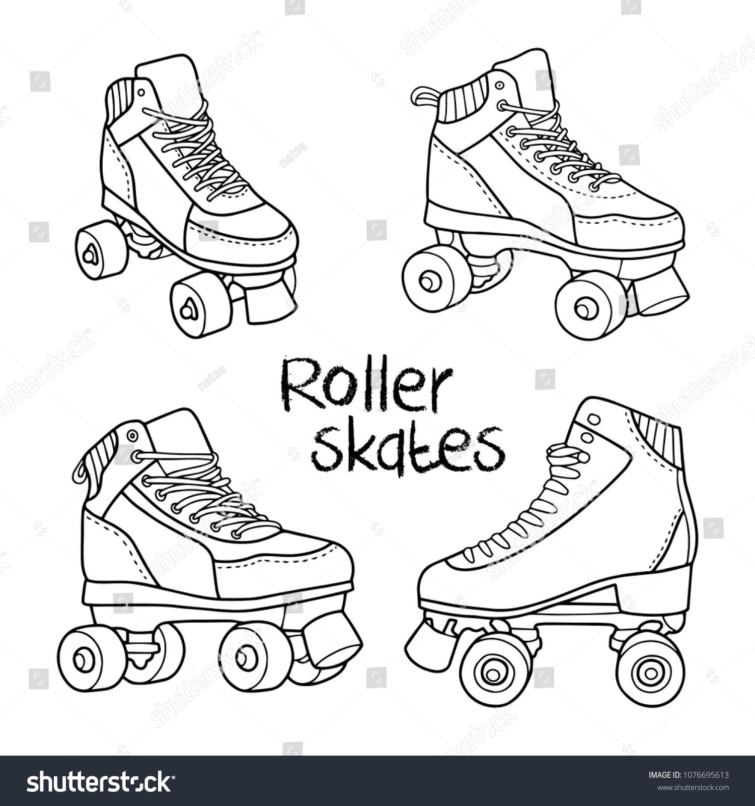 roller derby skates vector set illustration lovely hand drawn image outlines