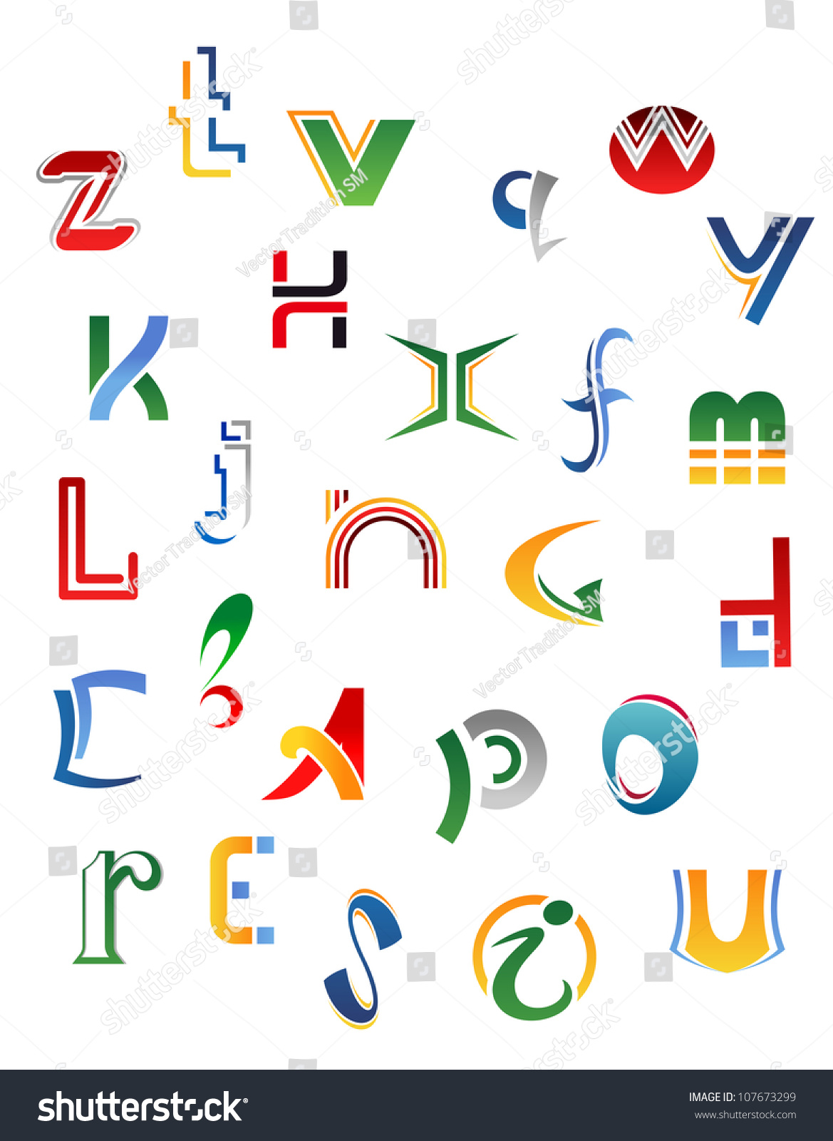 Set Symbols Letters Icons Alphabet Design Stock Illustration