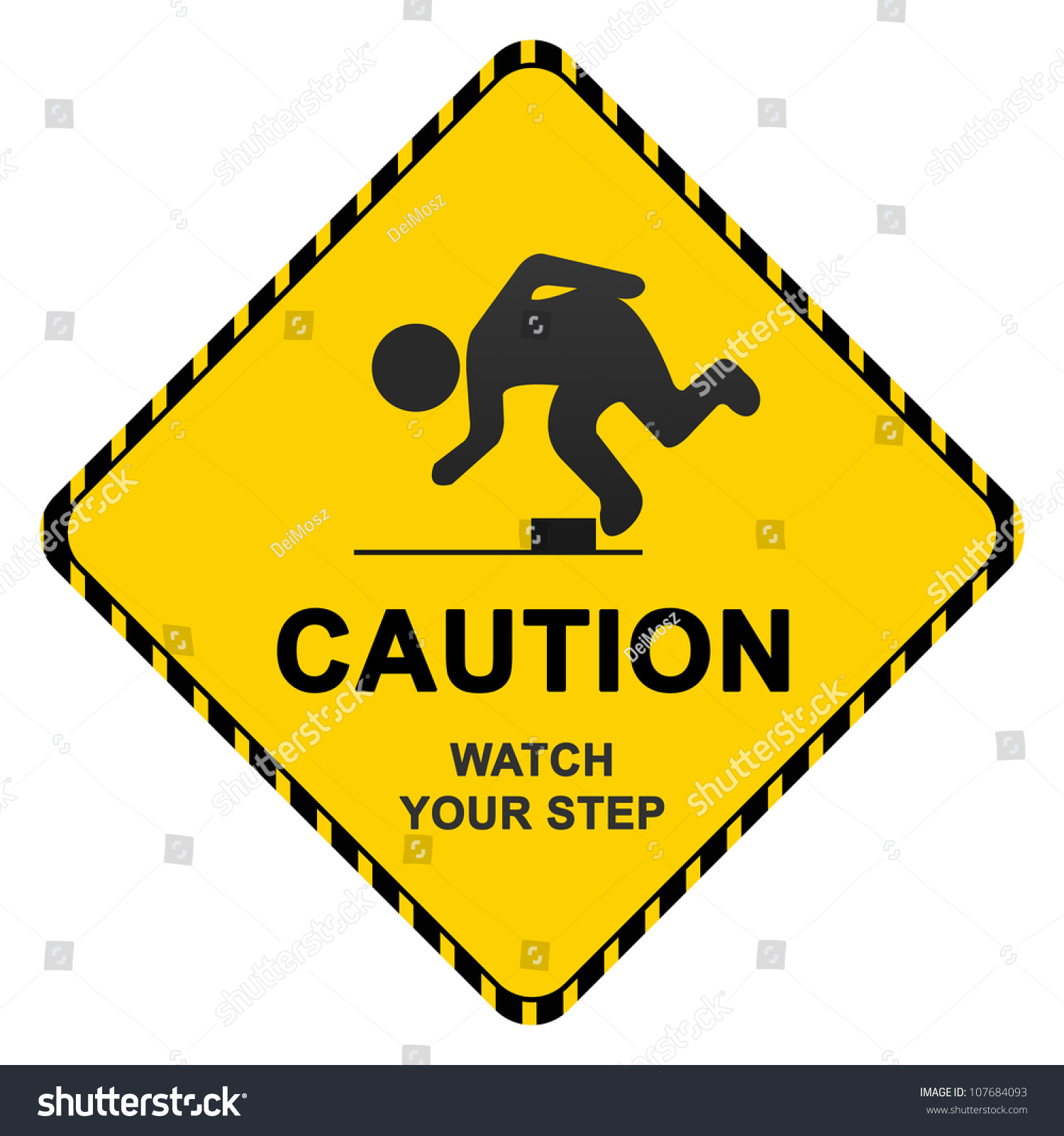 Caution Sign Text Caution Watch Your Stock Illustration