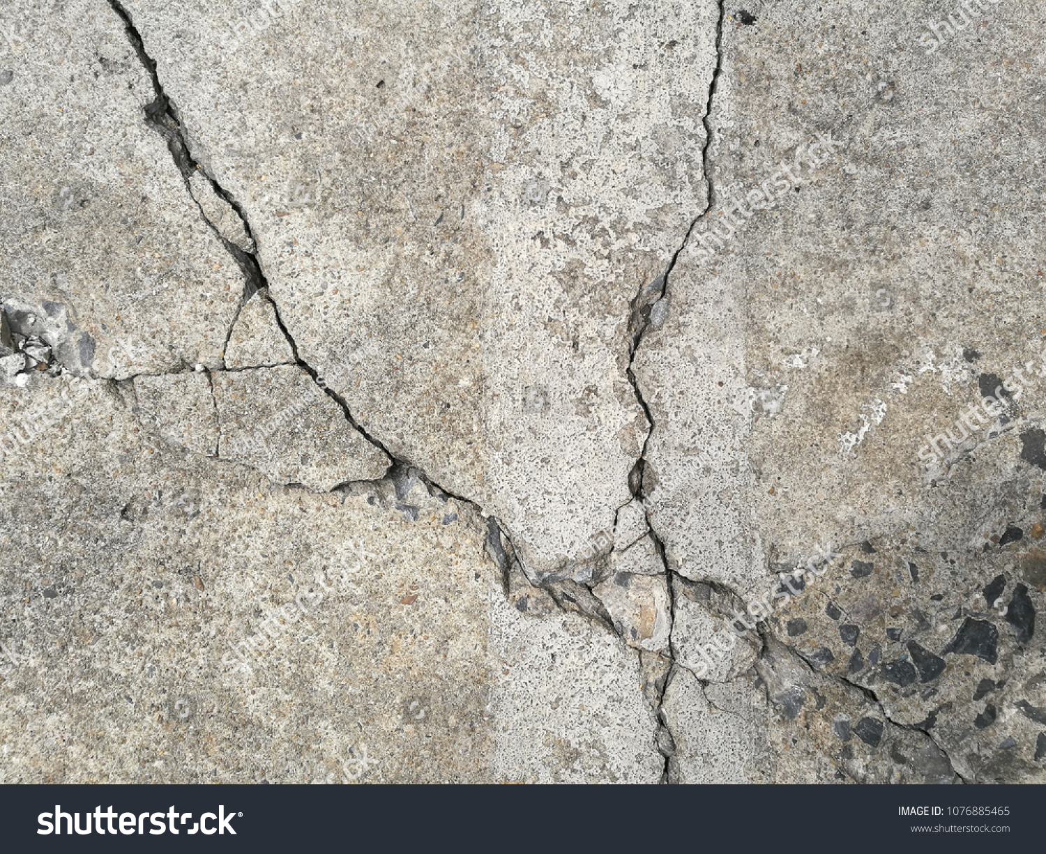 Close Up Crack Cement Floor Texture Background Top View Wreckaged Concrete Surface Building Structure