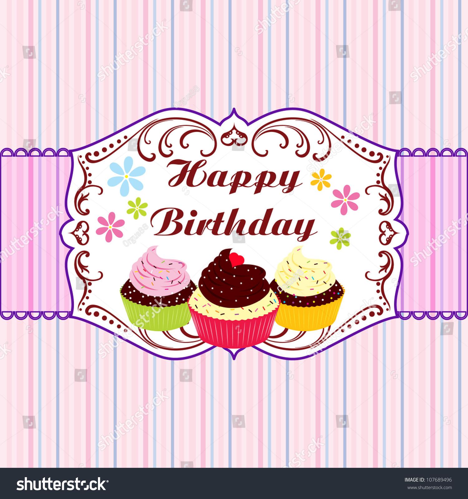 Birthday Card Gift Card Birthday Card Vector 107689496 – Cupcake Birthday Card