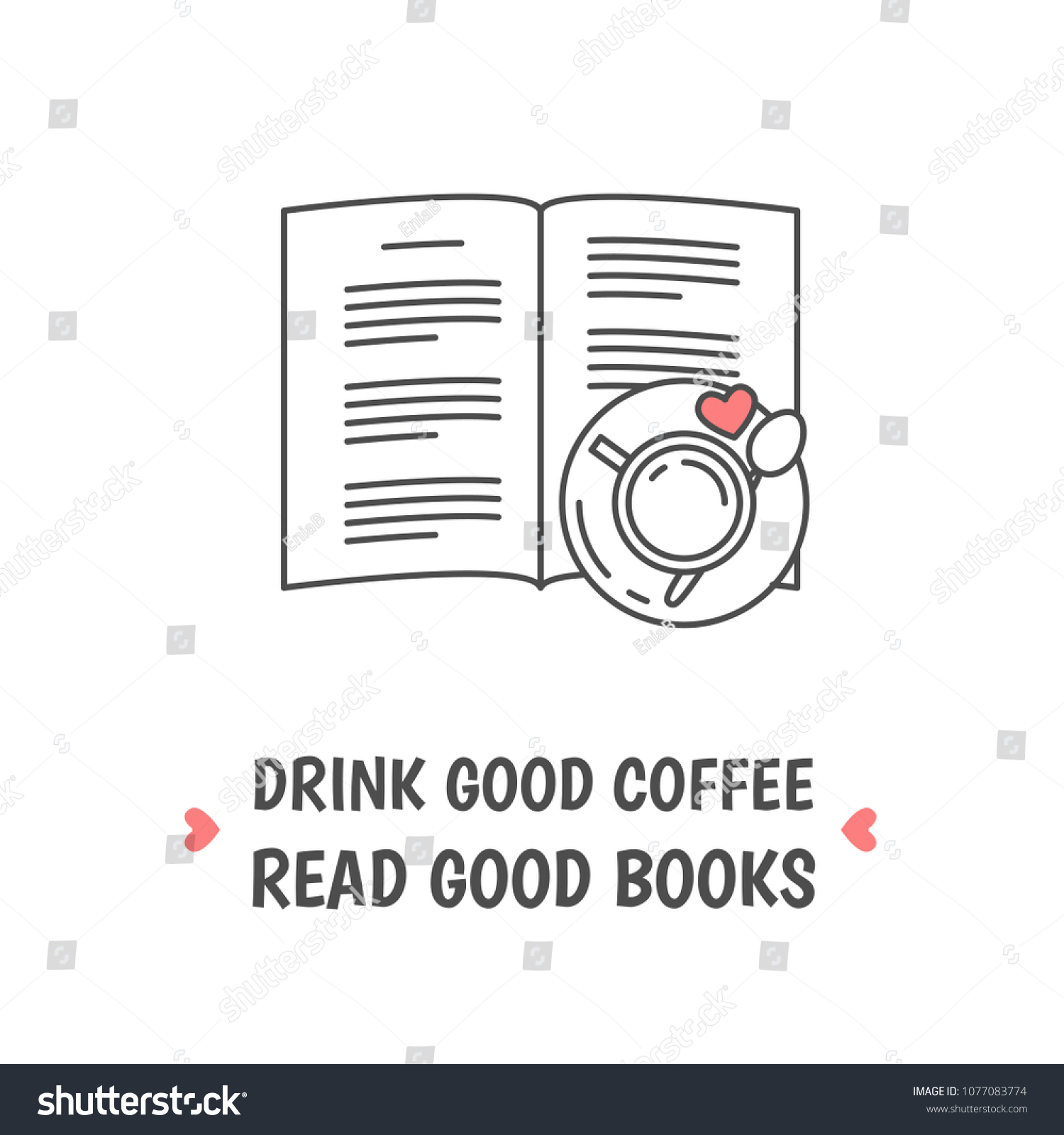 Open Book Tea Cup Heart Symbol Stock Vector Royalty Free