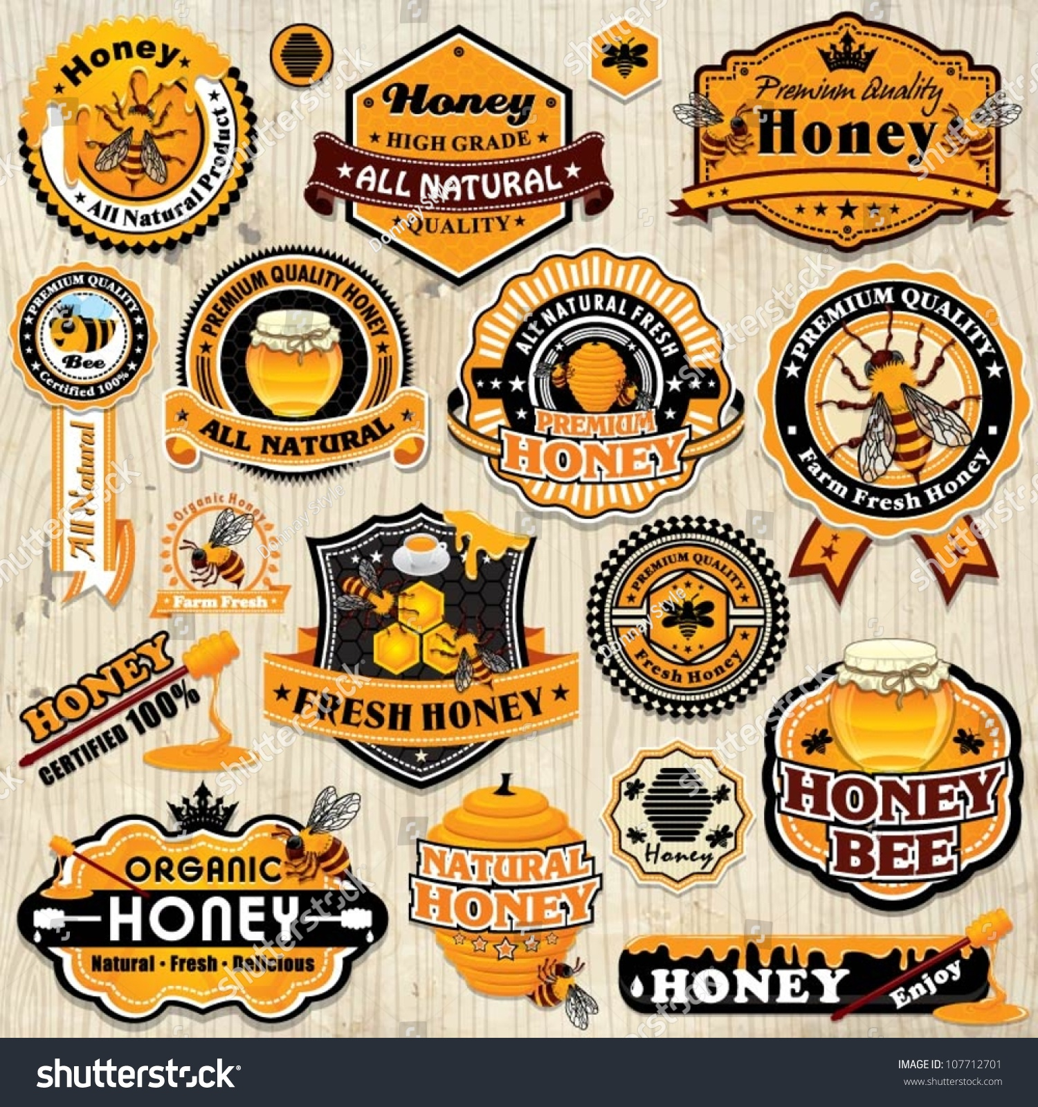 Vintage Frame With Honey Label Set Template Stock Vector