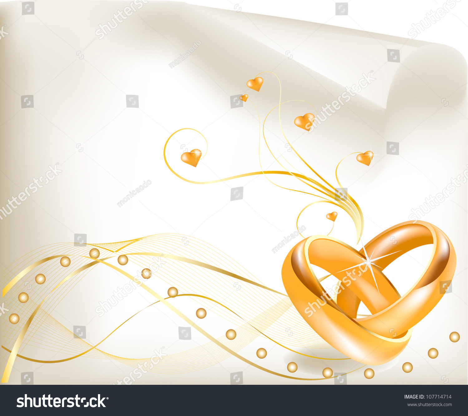 Wedding Invitation Template Beautiful Golden Wedding Stock Vector