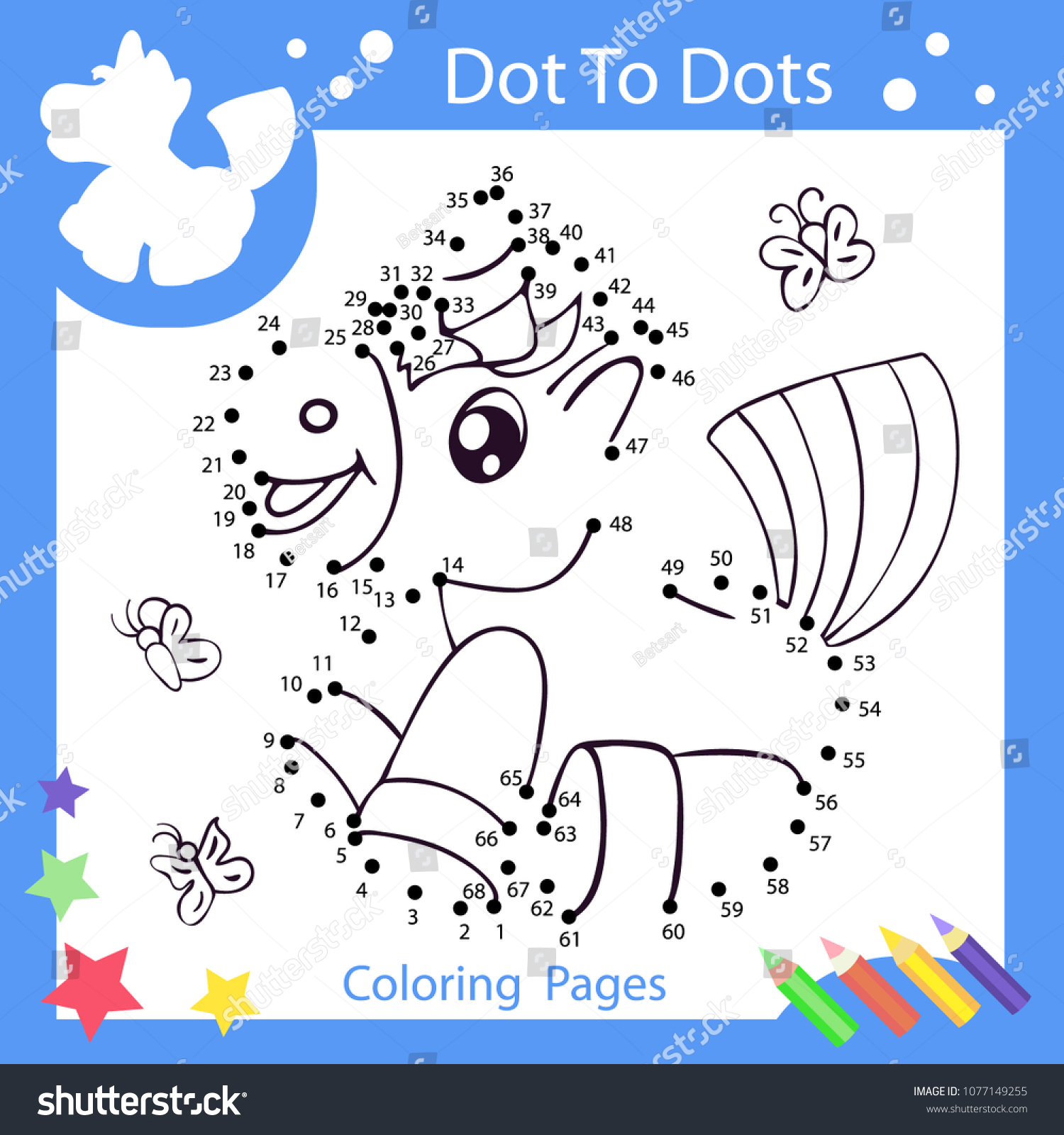 Worksheets Dot Dots Drawn Unicorn Children Stock Vector Royalty