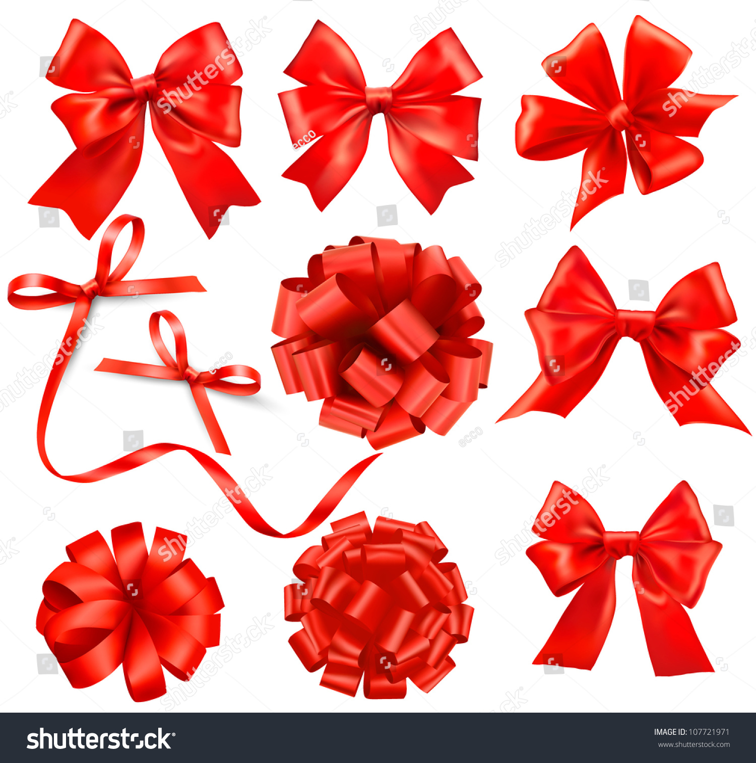 Big set red gift bows ribbons stock vector 107721971 shutterstock big set of red gift bows with ribbons vector negle Image collections