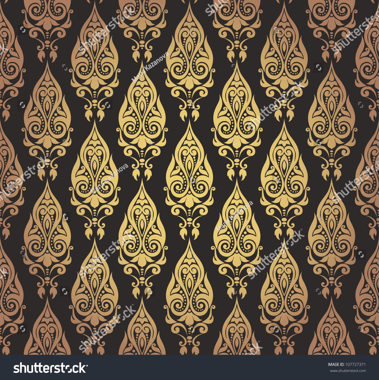 Vector Illustration Seamless Decorative Wallpaper Oriental Stock