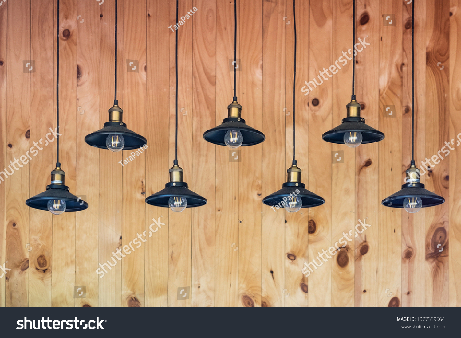 Down lights bulbs hanging ceiling wooden stock photo edit now