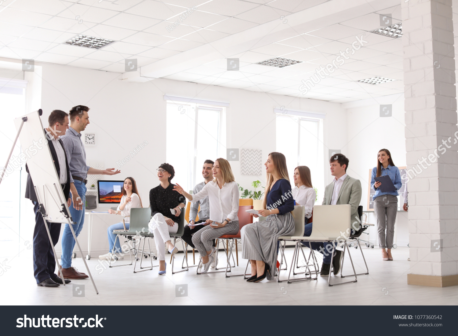 Business Trainers Giving Lecture Office