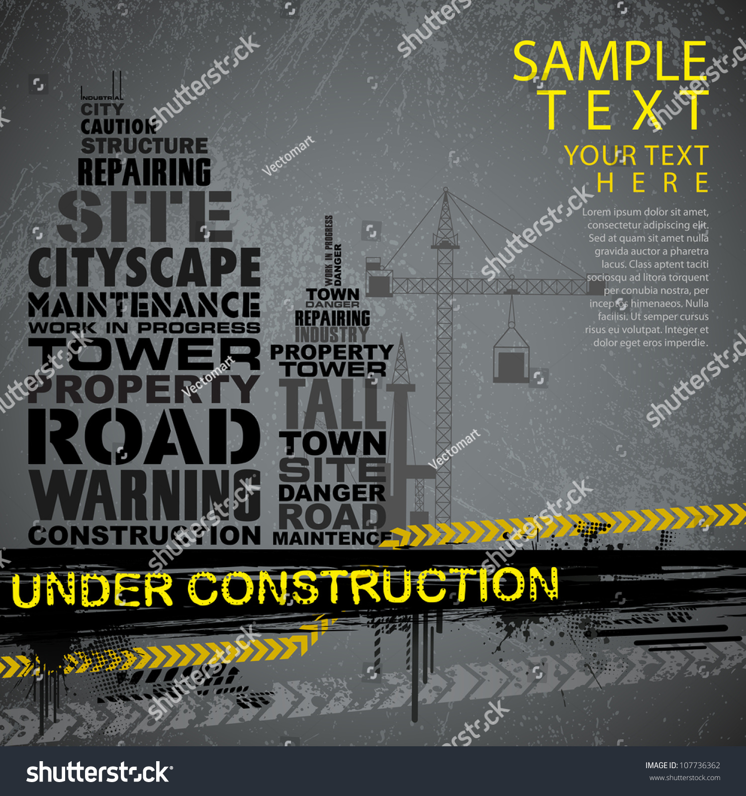 Stock Vector Illustration Of Under Construction Background With Typogr...
