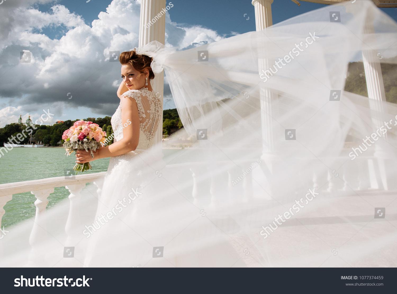 Luxurious Bride Tight Wedding Dress Standing Stock Photo Edit Now