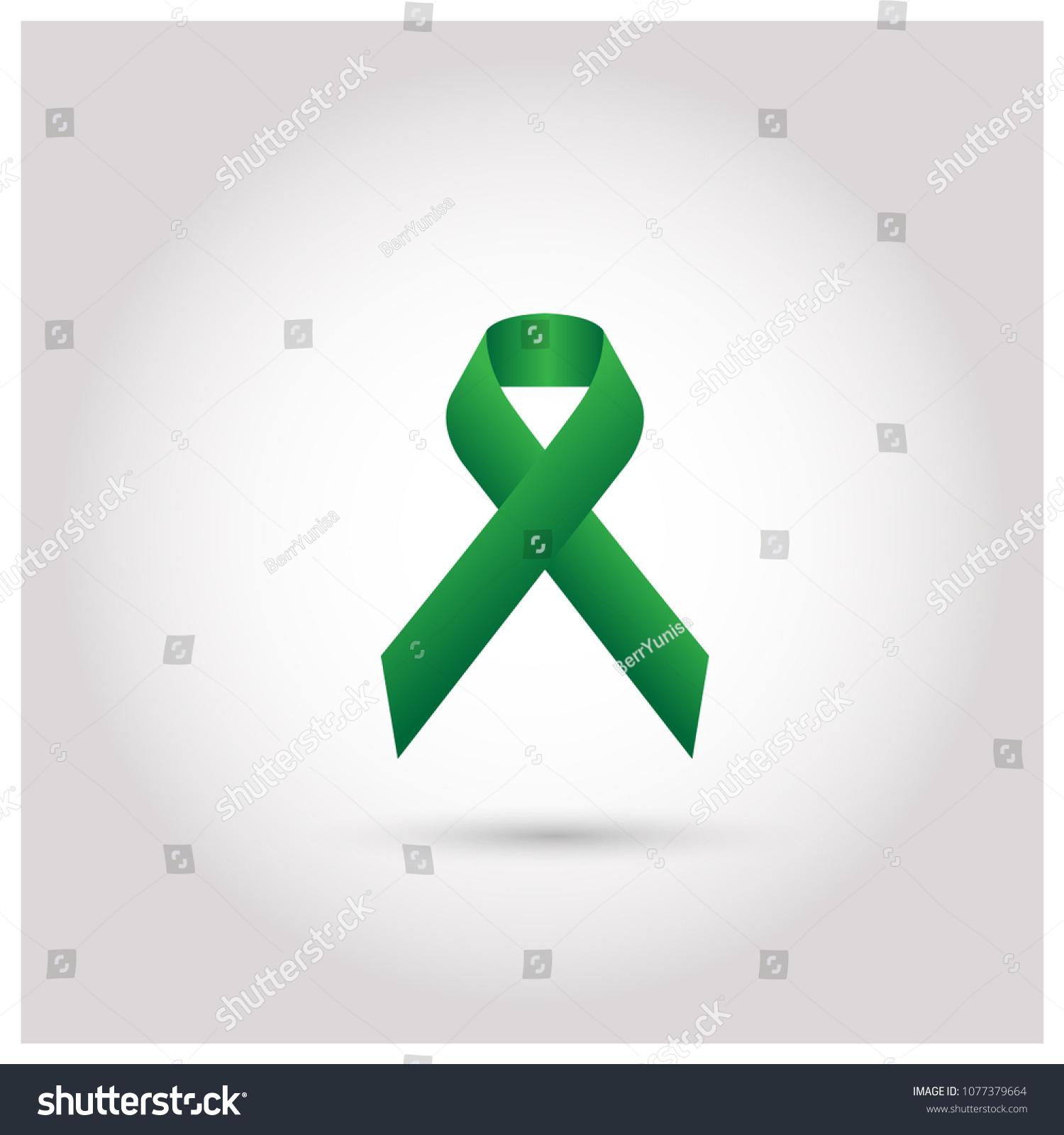 Green Ribbon Mental Health Awareness Logo Symbol Icon Vector Template