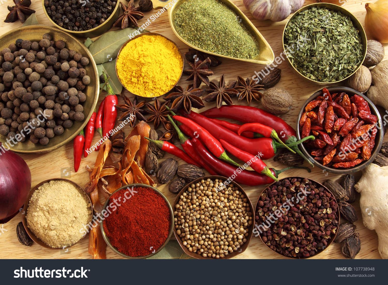 spices herbs metal bowls food cuisine stock photo 107738948 shutterstock. Black Bedroom Furniture Sets. Home Design Ideas
