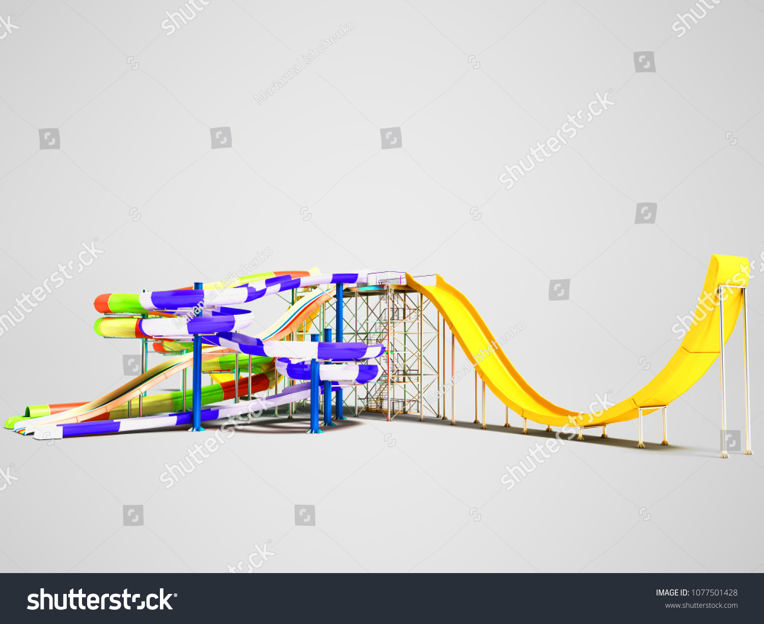 Water Rides Straight Bitter Yellow Roller Stock Illustration Coaster Diagram With And Spring On The Right 3d Render