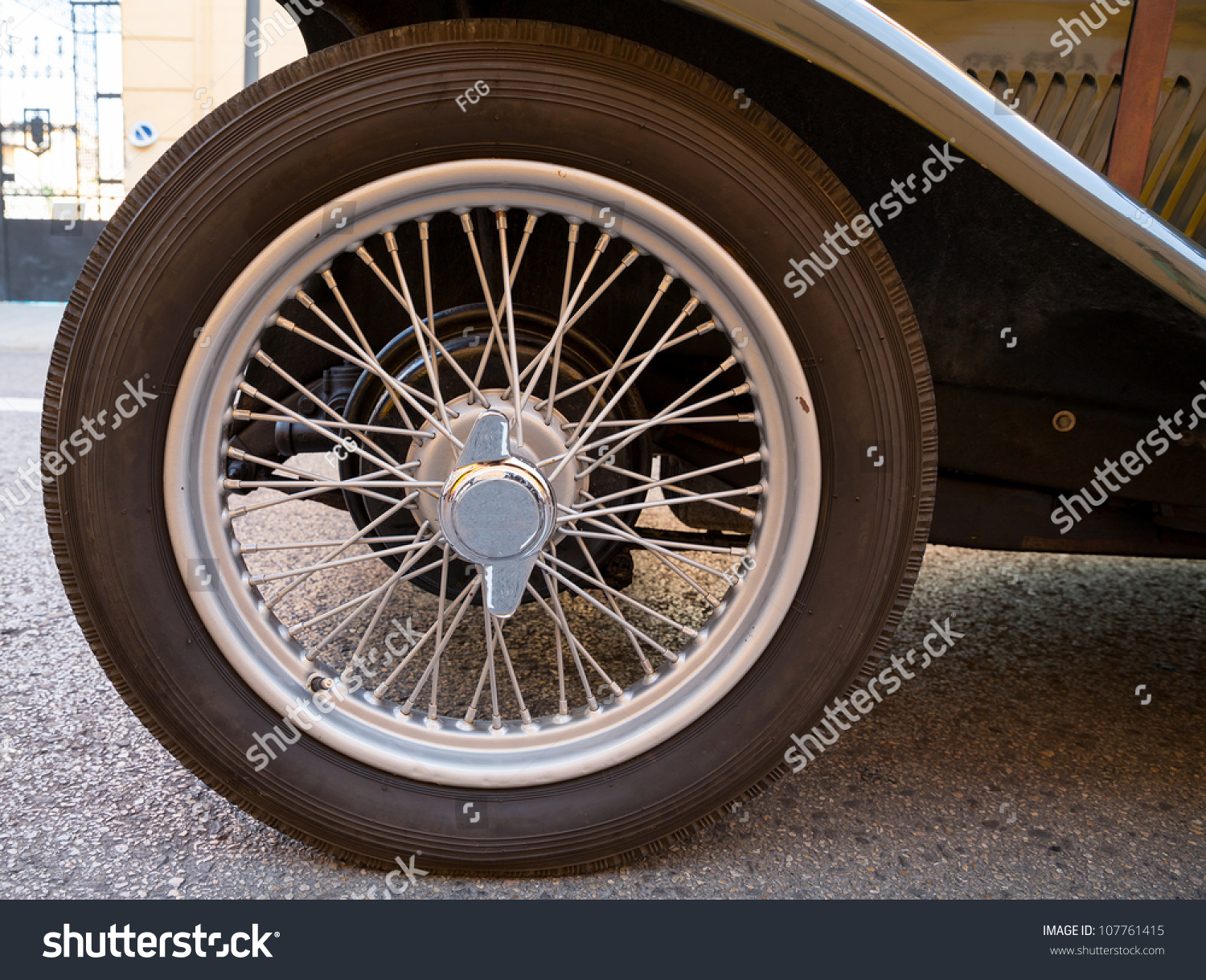 Old Vintage Car Wheel Closeup Side Stock Photo (Royalty Free ...