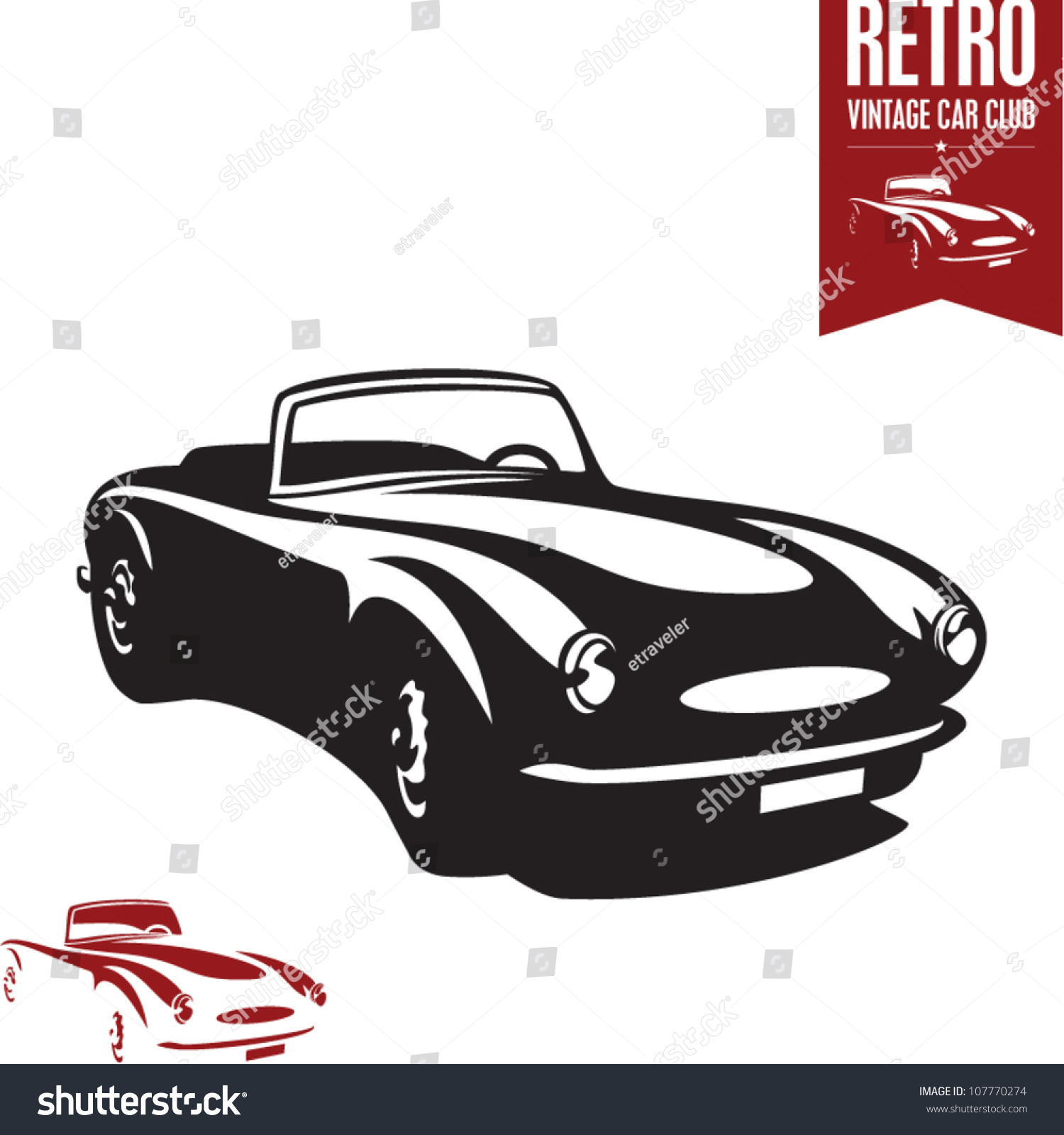 Retro Car. Vintage Car. Sport Car. Stock Vector Illustration 107770274