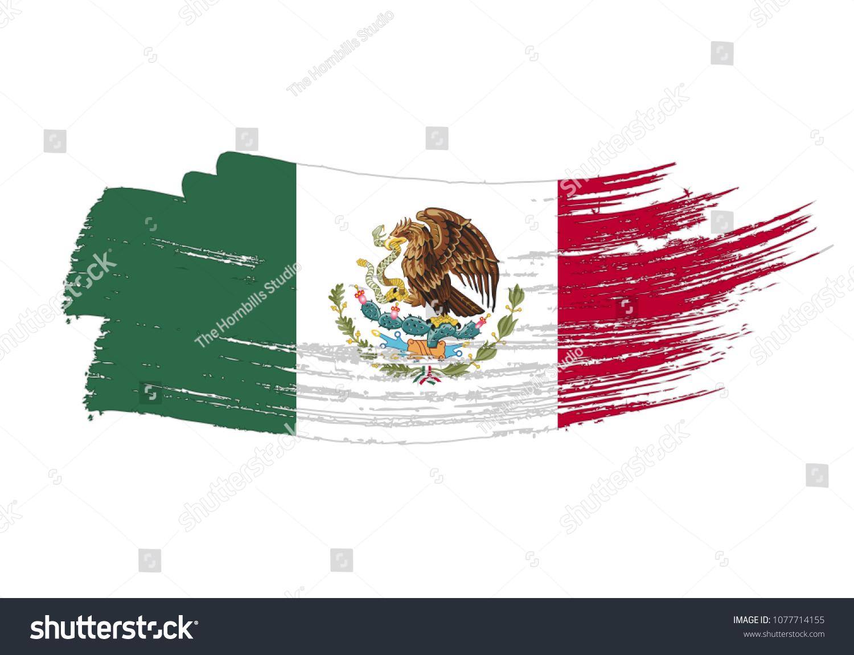 Grunge Brush Stroke Mexico National Flag Stock Vector Royalty Free