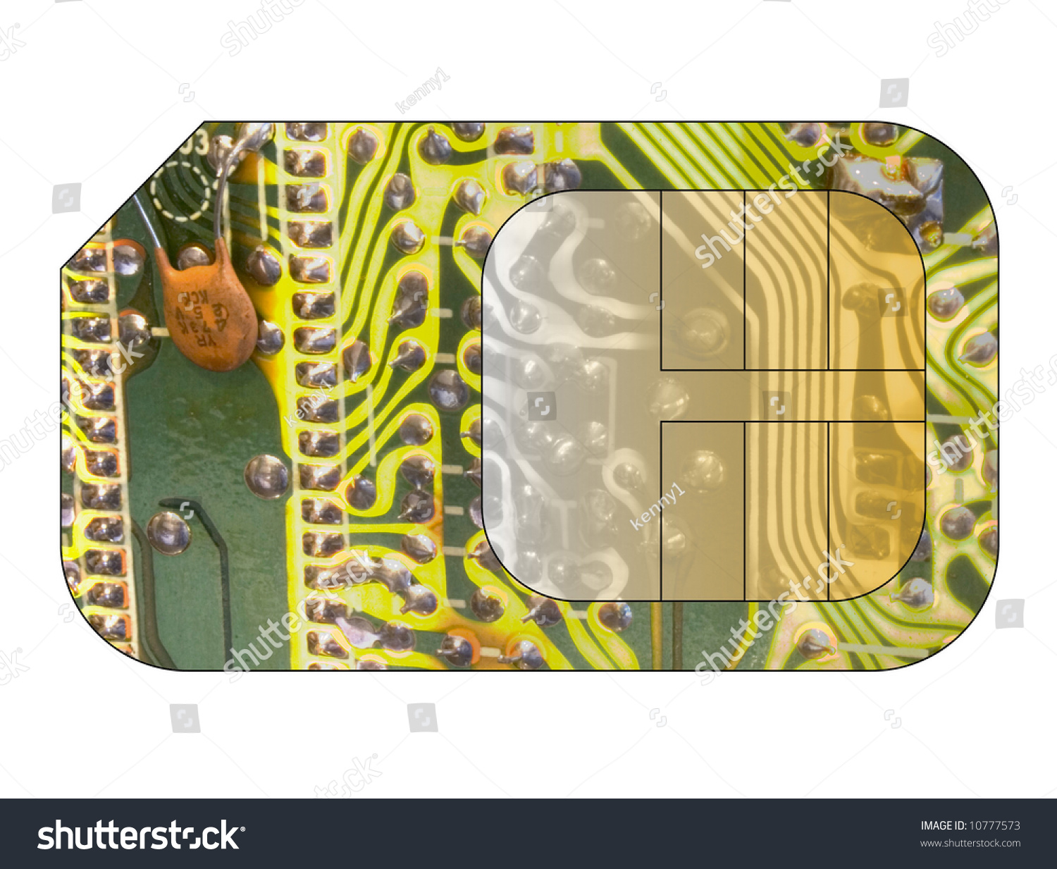 Cell Phone Sim Card Circuit Board Stock Illustration 10777573 With Overlay