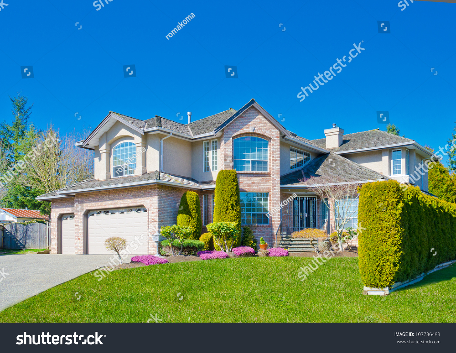 Royalty free custom built big luxury house in a for Custom build house online