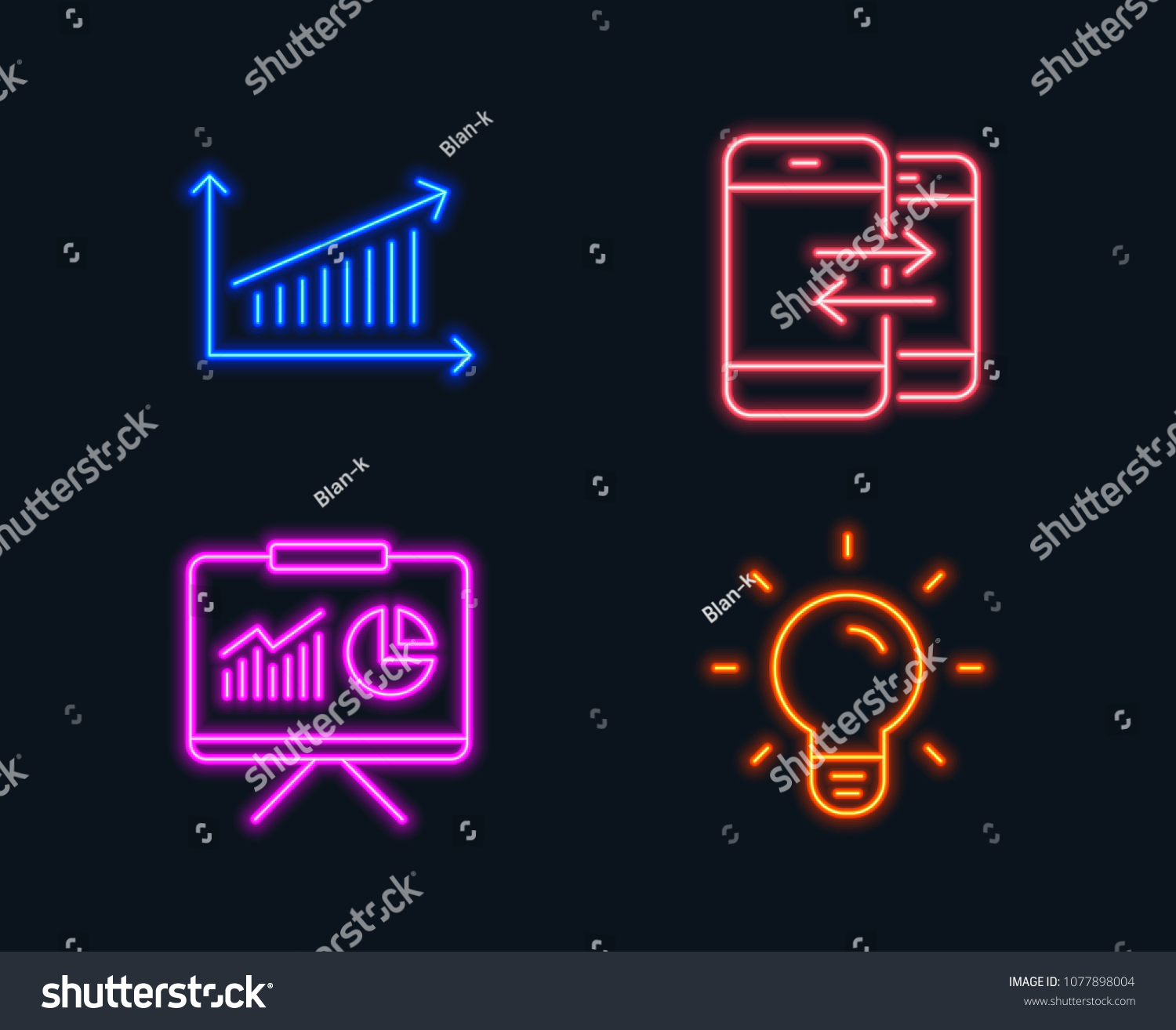 neon lights  set of presentation, chart and phone communication icons  light  bulb sign