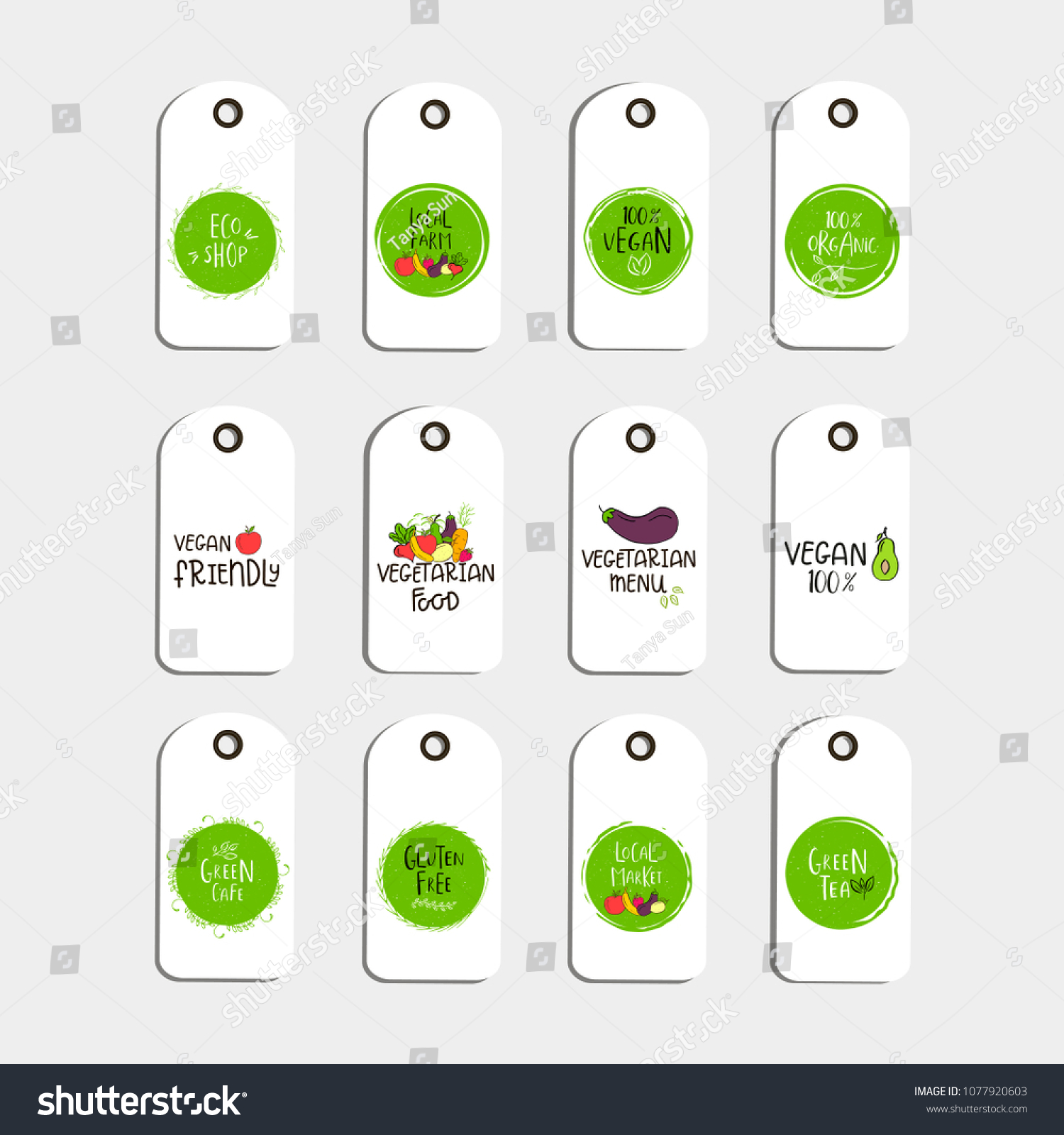 set vector eco badge tag bio stock vector royalty free 1077920603