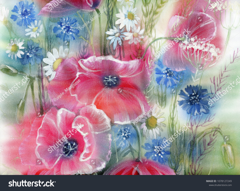 Watercolor On Silk Wild Flowers Bouquet Stock Illustration