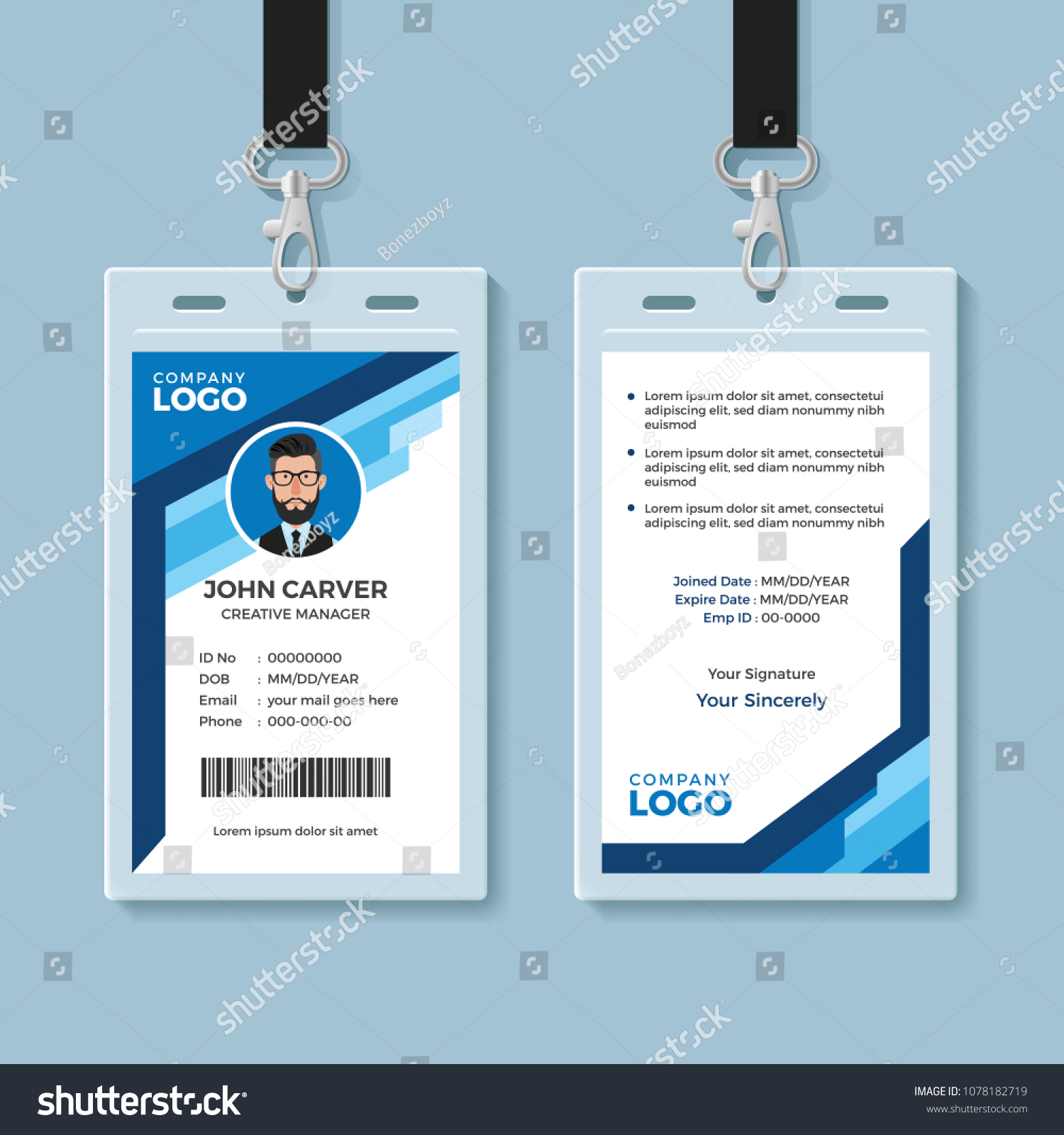 blue graphic employee id card template のベクター画像素材