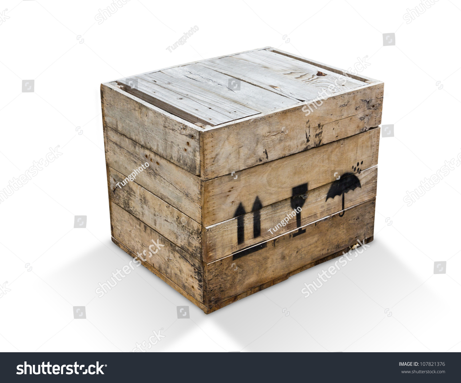 Wood Box Isolated Clipping Path Stockfoto (Jetzt bearbeiten ...