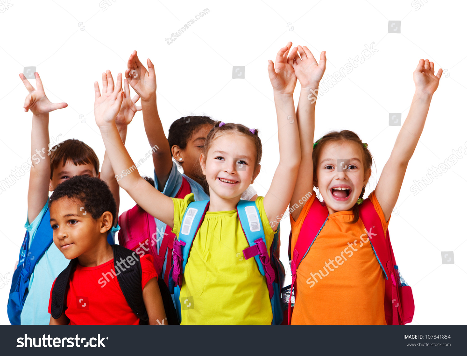 Excited School Aged Kids Backpacks Stock Photo 107841854 ...