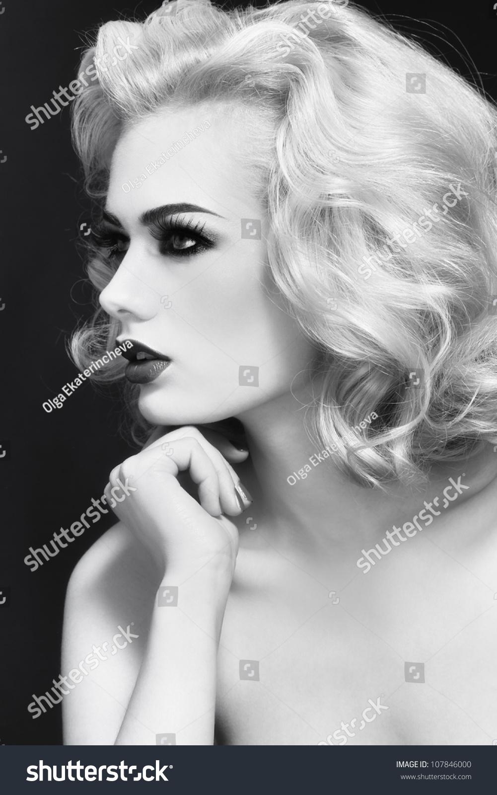 black white profile portrait young beautiful stock photo