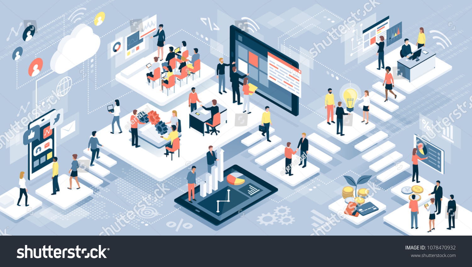 Isometric virtual office with business people working together and mobile devices: business management, online communication and finance concept #1078470932