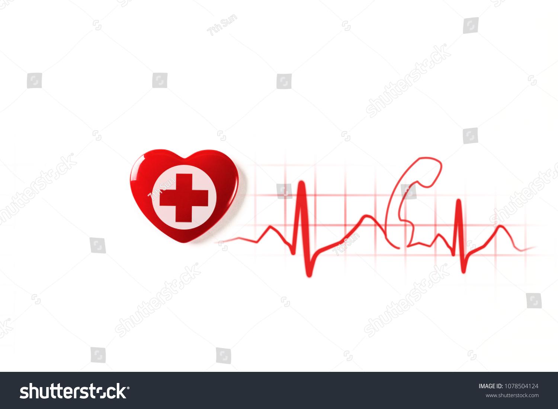Red Heart Cross On White Background Stock Illustration 1078504124
