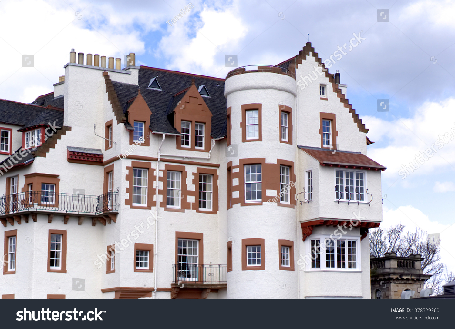 Typical 18th Century British Townhouses Edinburgh Scotland Uk
