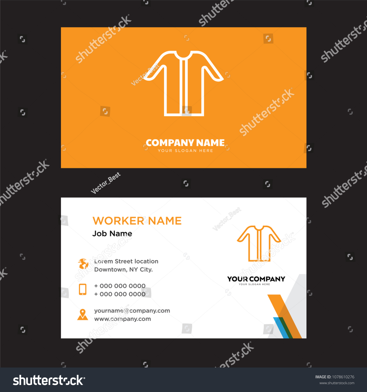 Tshirt Business Card Design Template Visiting Stock Vector ...