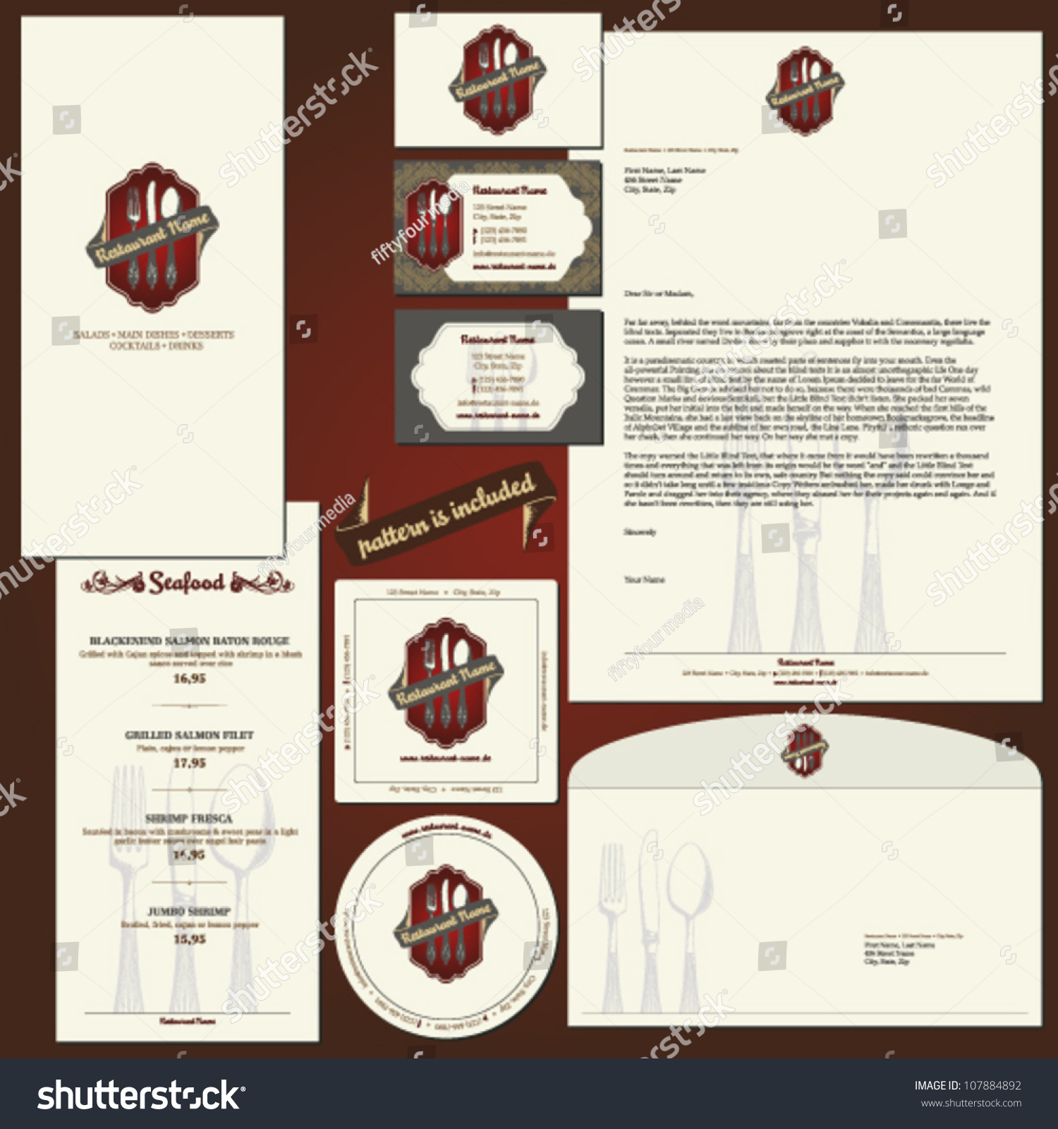 Corporate identity template for restaurants with layouts for Restaurant letterhead templates free